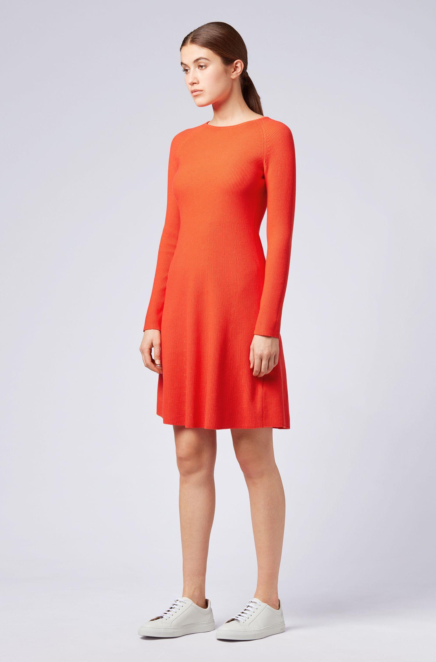 Vestido de punto en mezcla de algodón con mangas raglán, Rojo