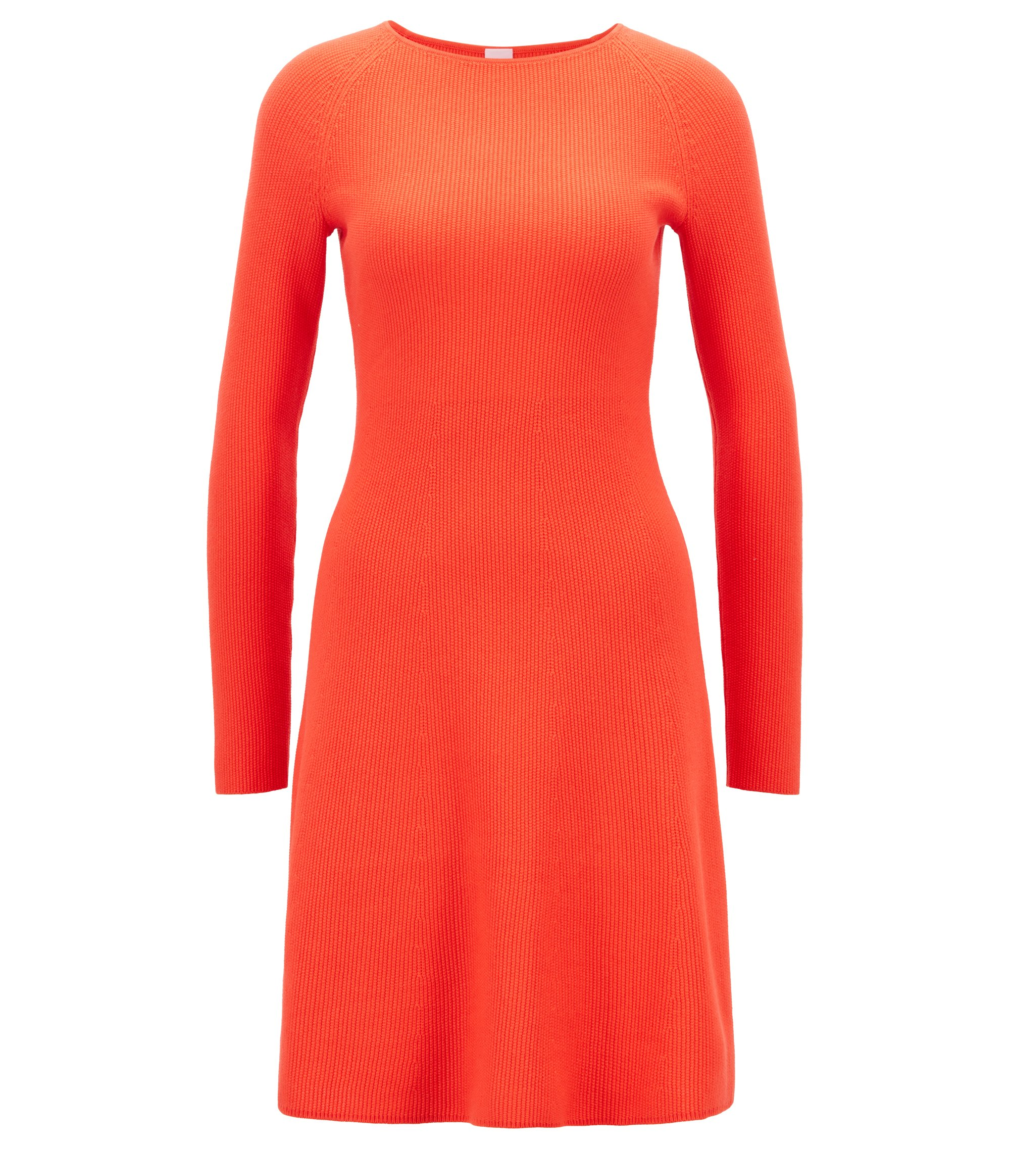 Knitted dress in a cotton blend with raglan sleeves, Red