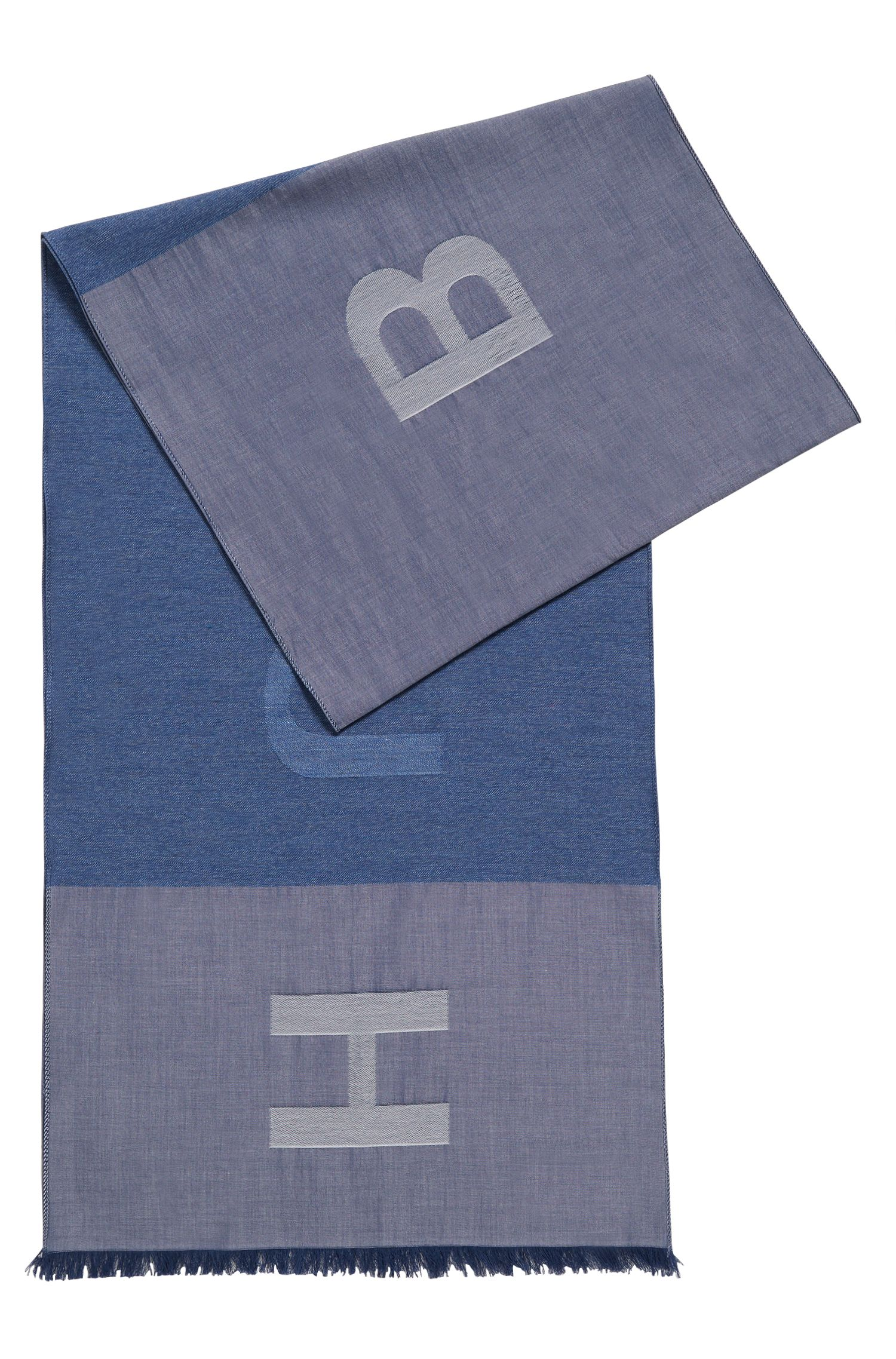 Logo scarf in denim-look cotton jacquard, Blue