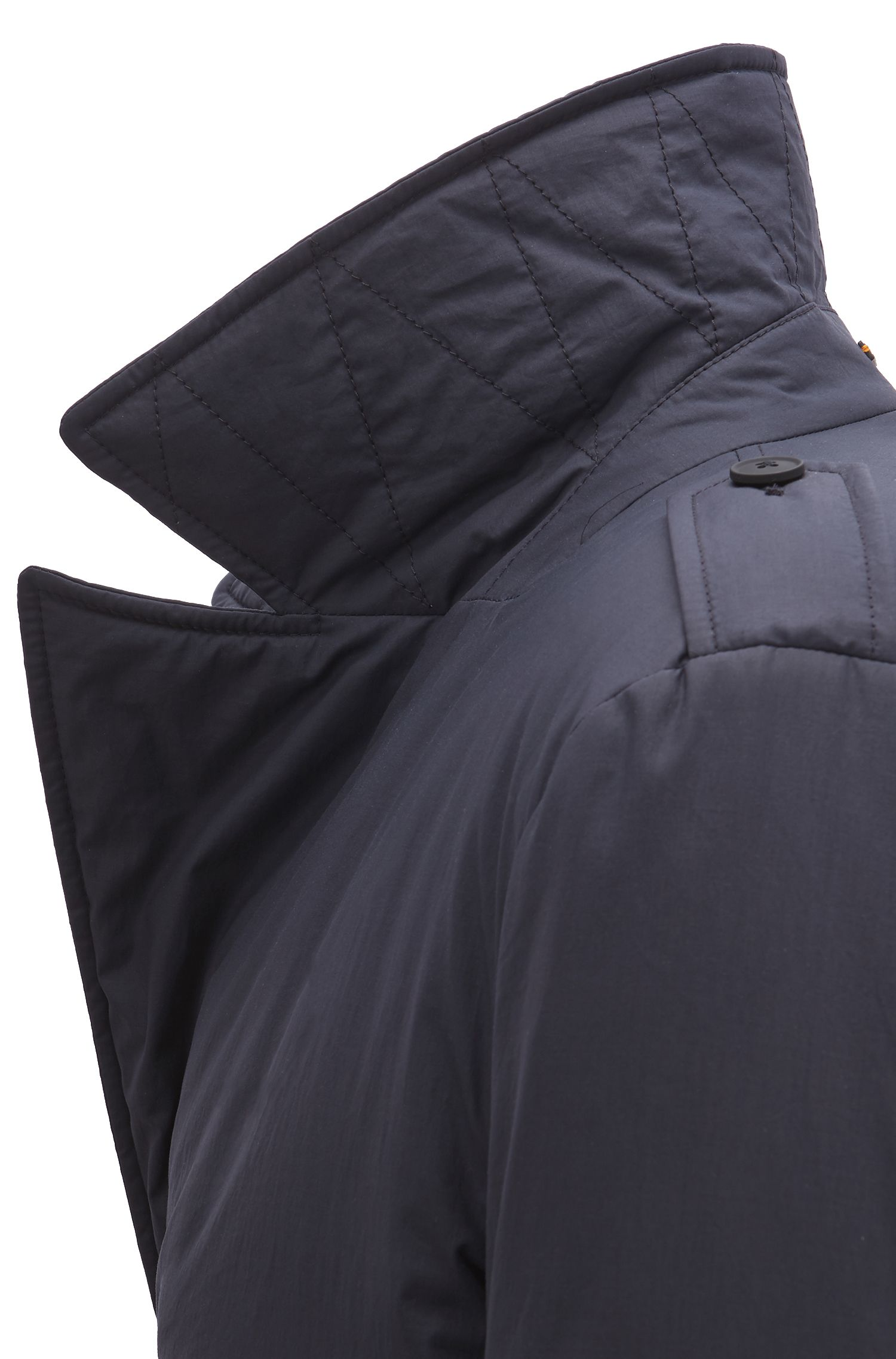 Caban coat in waxed cotton with PrimaLoft® insulation, Dark Blue