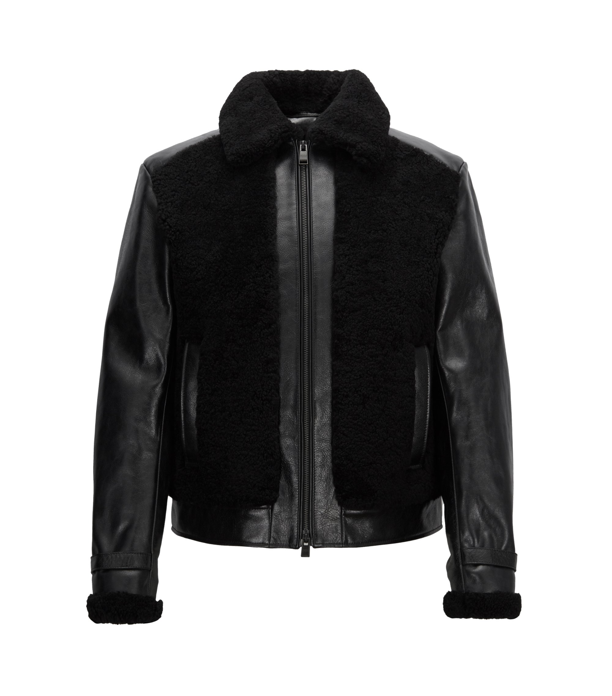 Leather jacket in nappa lambskin with shearling and quilting, Black