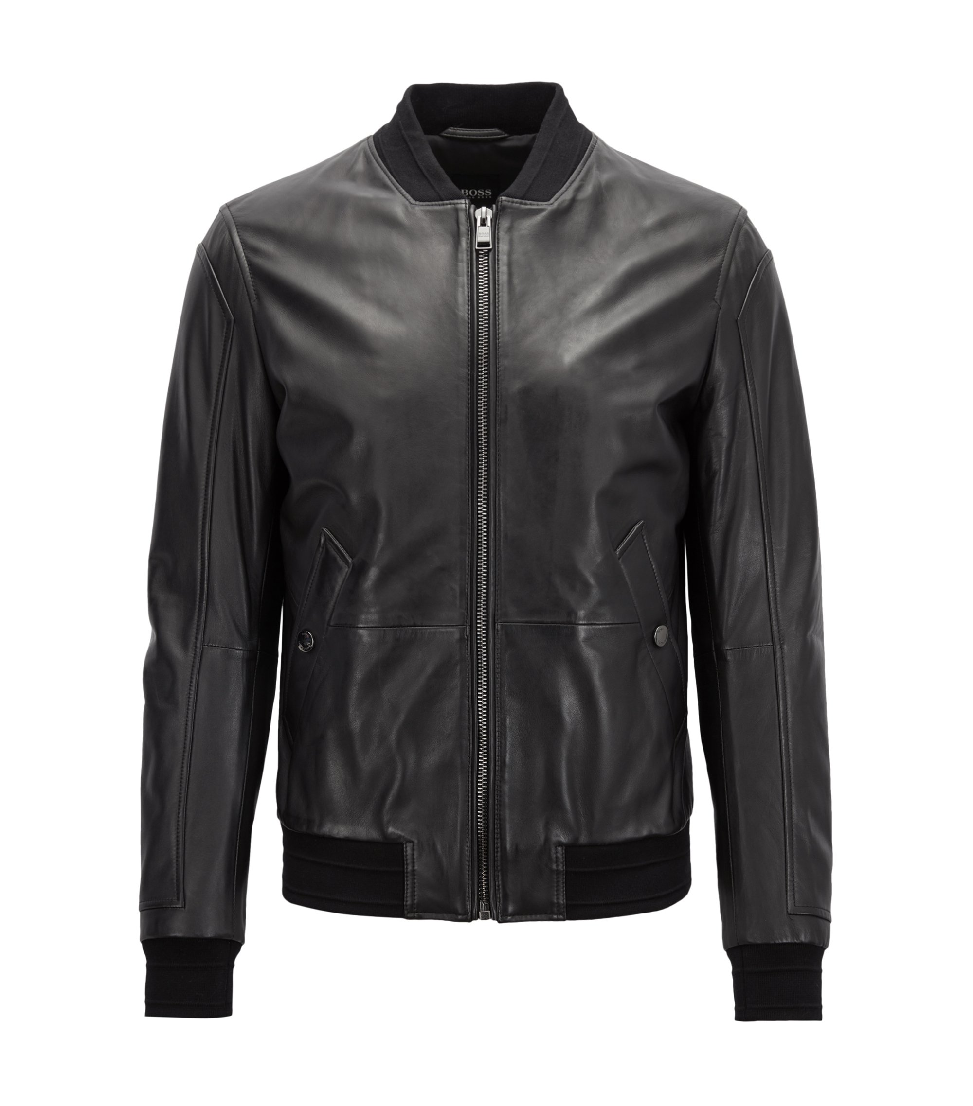 Bomber regular fit in pelle nappa di agnello opaca, Nero