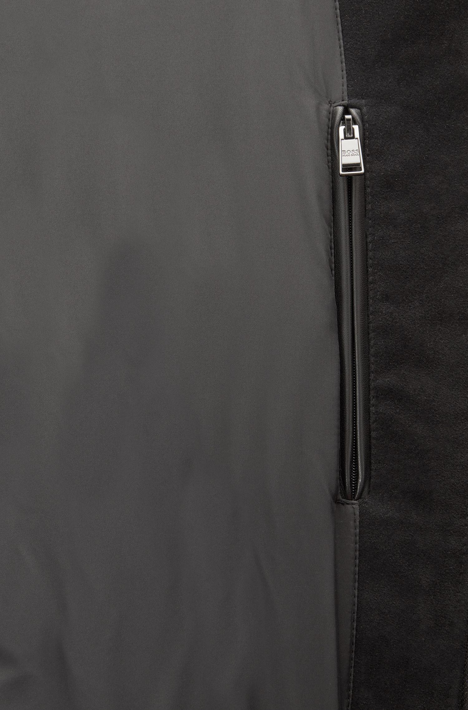 Regular-Fit Blouson aus mattem Nappaleder, Schwarz