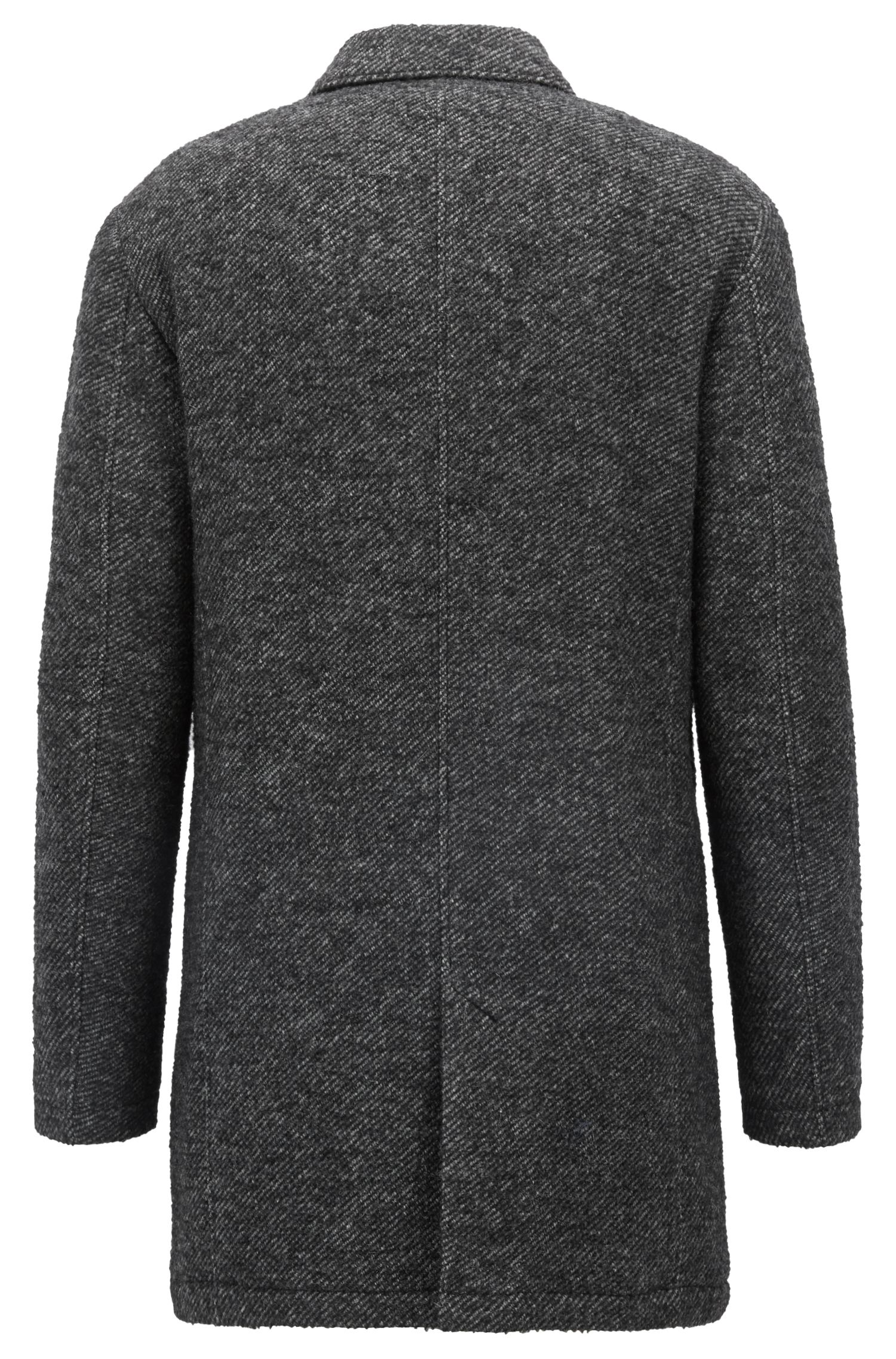 Manteau court Slim Fit en twill bicolore rembourré, Noir
