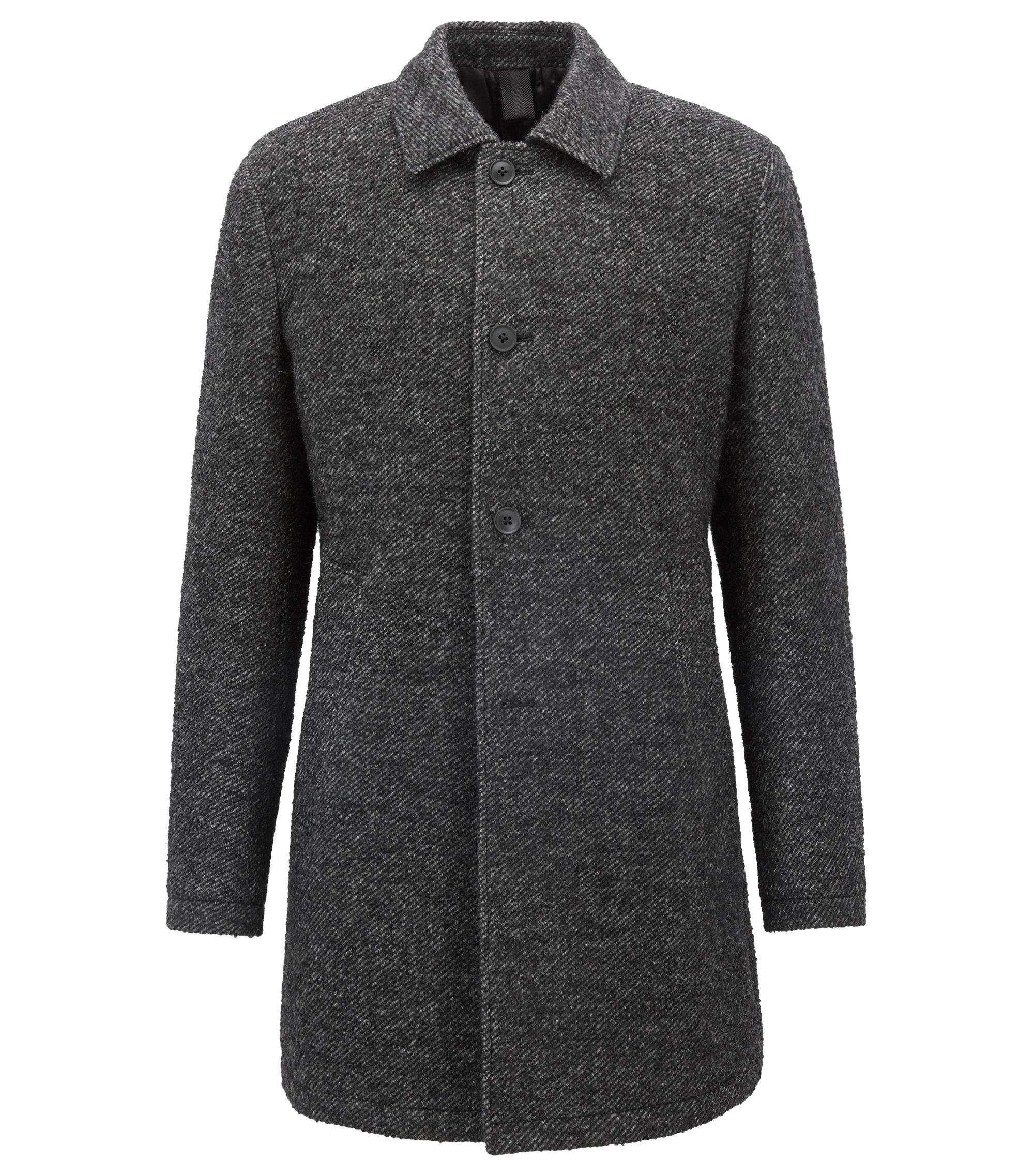Slim-fit short coat in padded two-tone twill, Schwarz