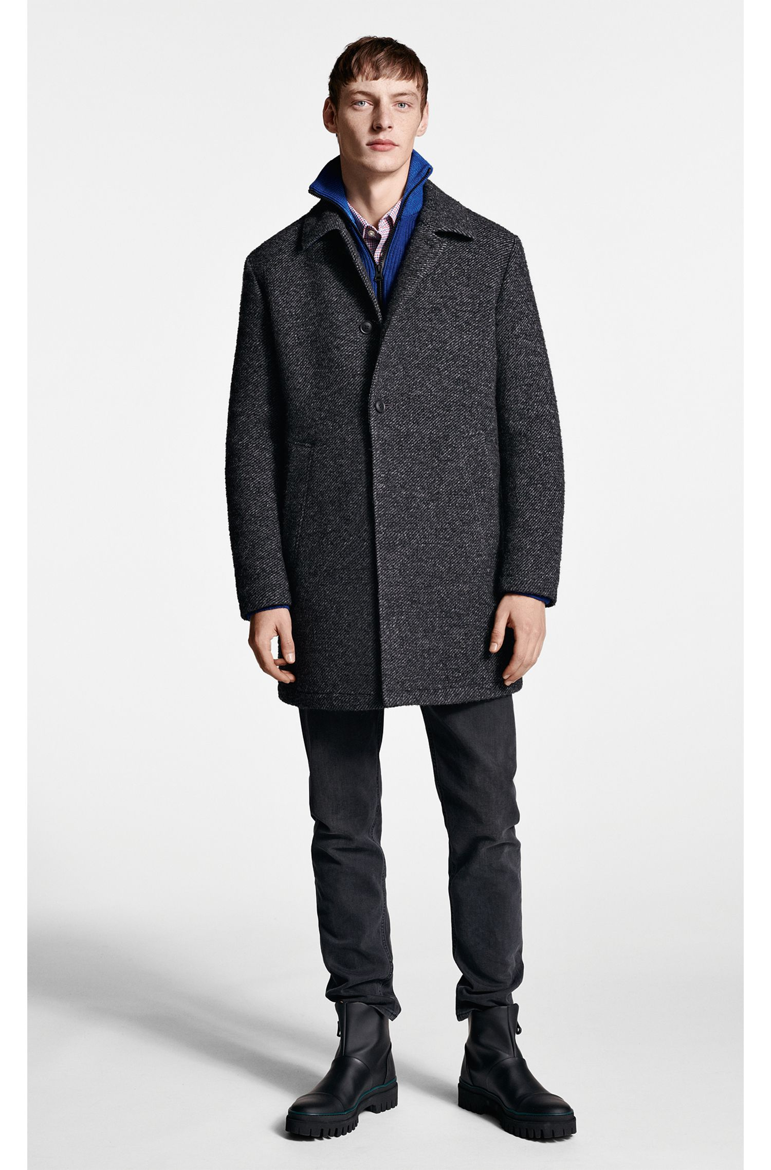Slim-fit short coat in padded two-tone twill