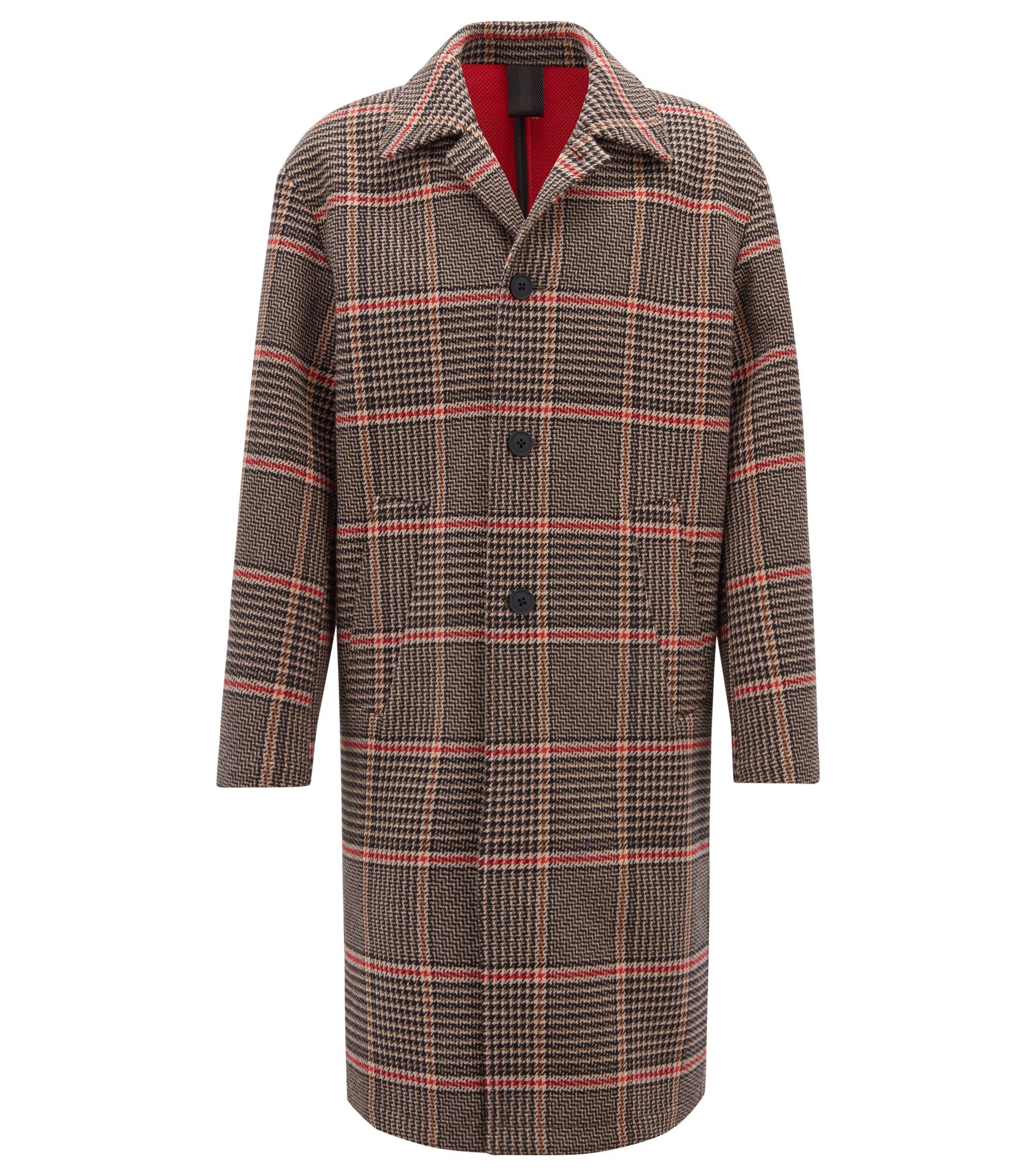 Manteau Oversized Fit en tissu italien contrecollé à motif prince-de-galles, Marron