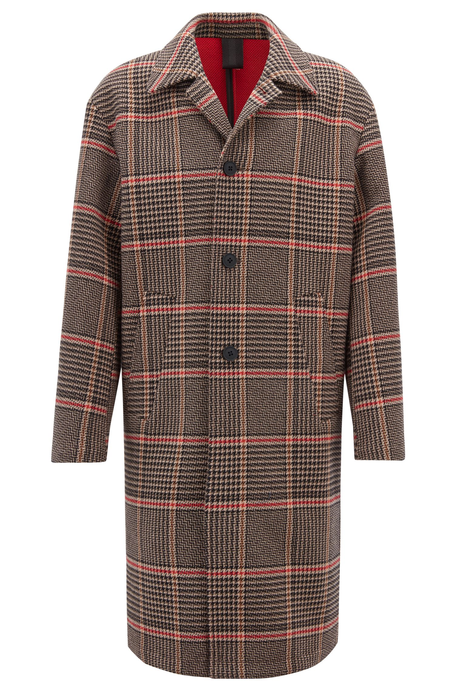 Oversized-fit coat in Italian Glen-check bonded fabric, Brown