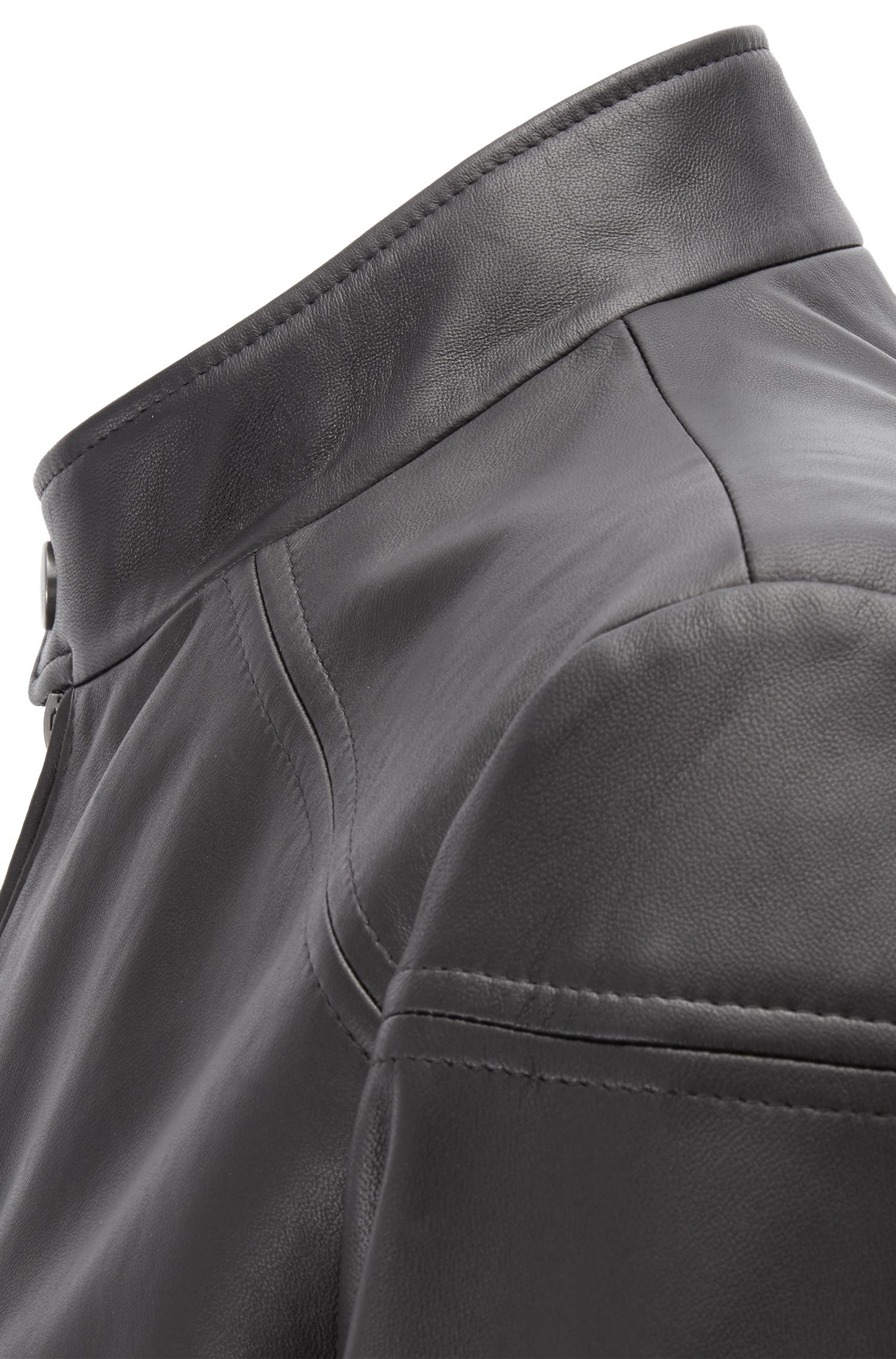 Regular-Fit Jacke aus Nappaleder, Schwarz