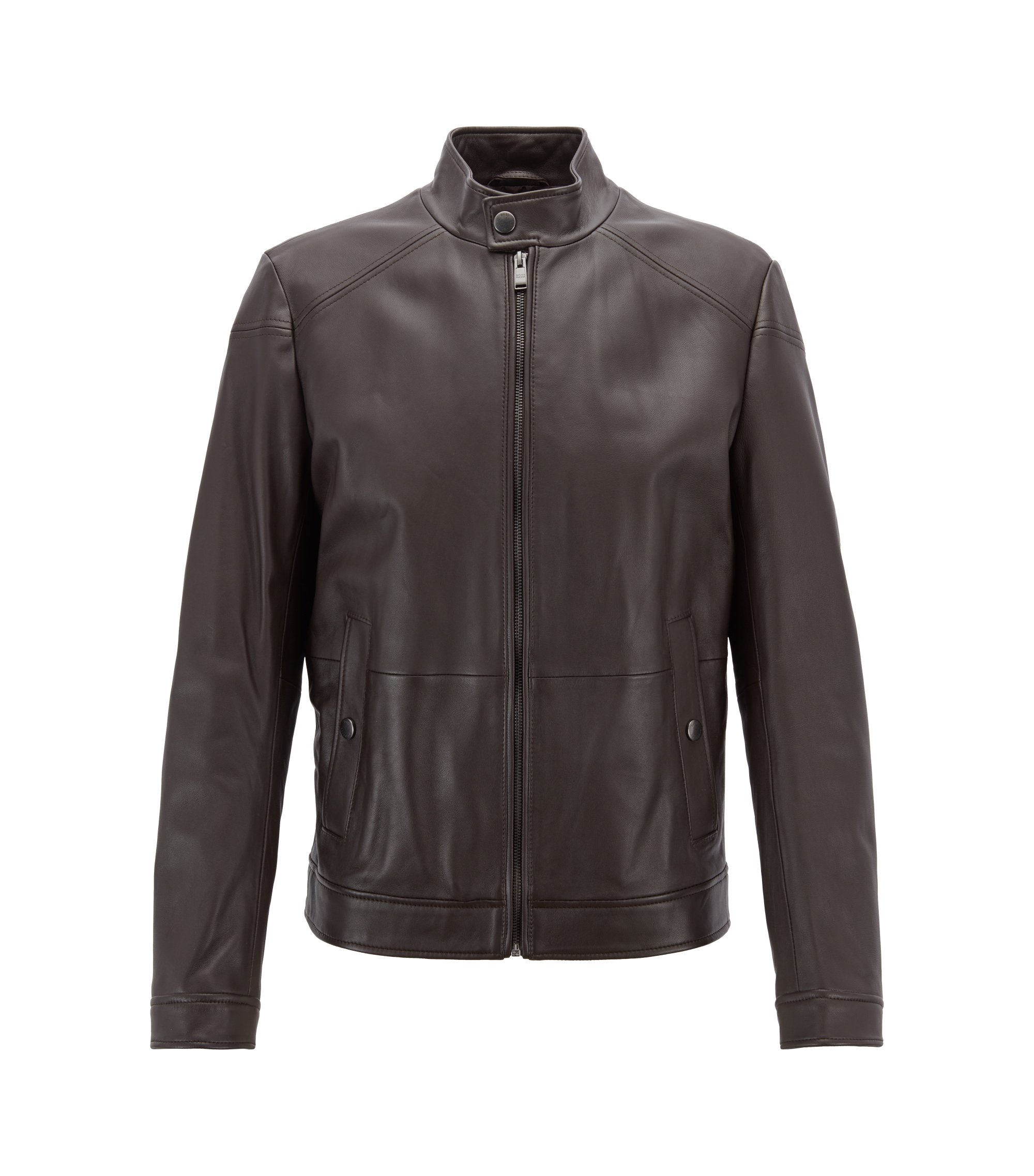 Regular-fit blouson jacket in nappa lambskin, Dark Brown