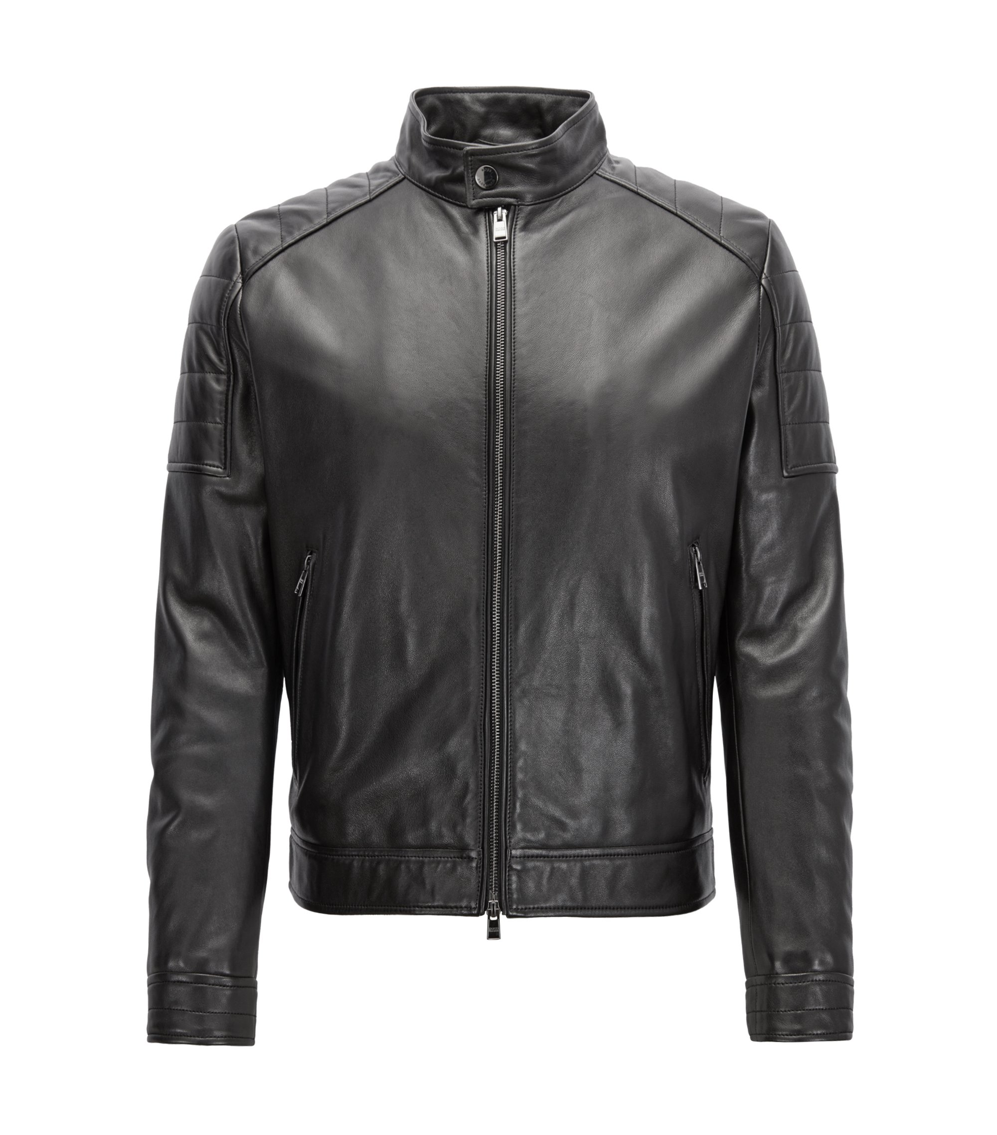 Regular-fit blouson leather jacket with padded shoulders, Black