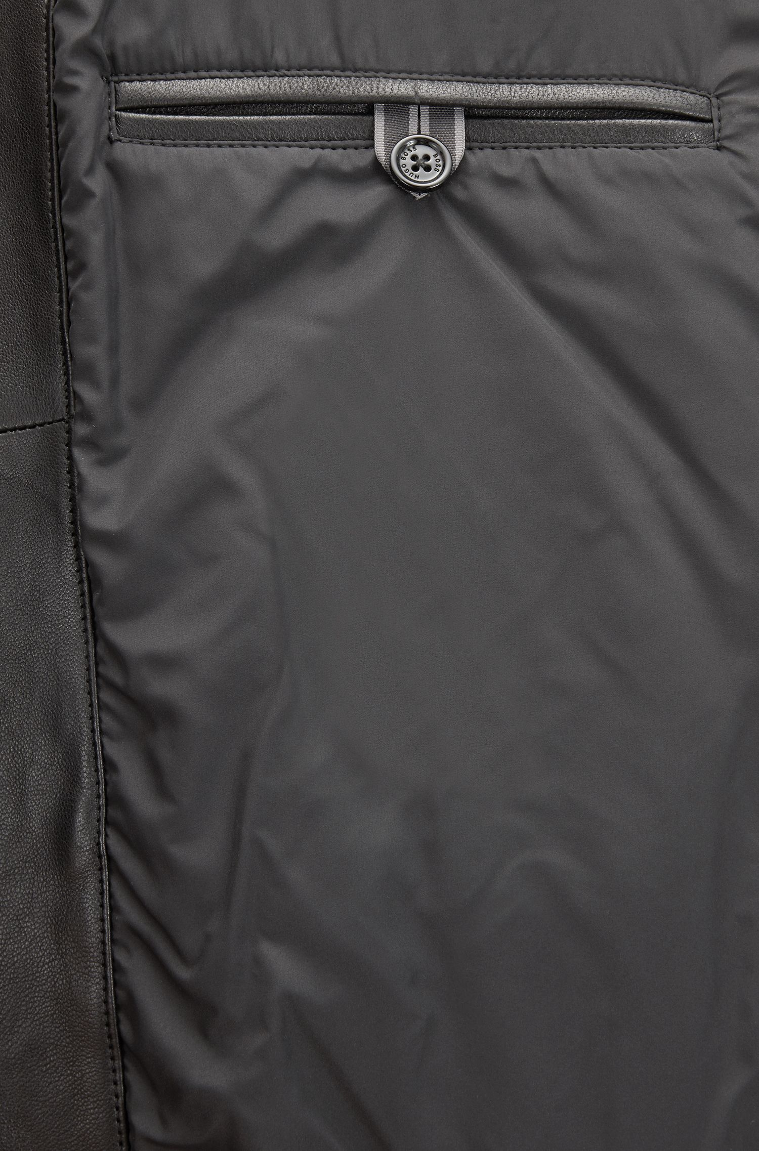 Regular-Fit Lederjacke mit Schulterpolstern