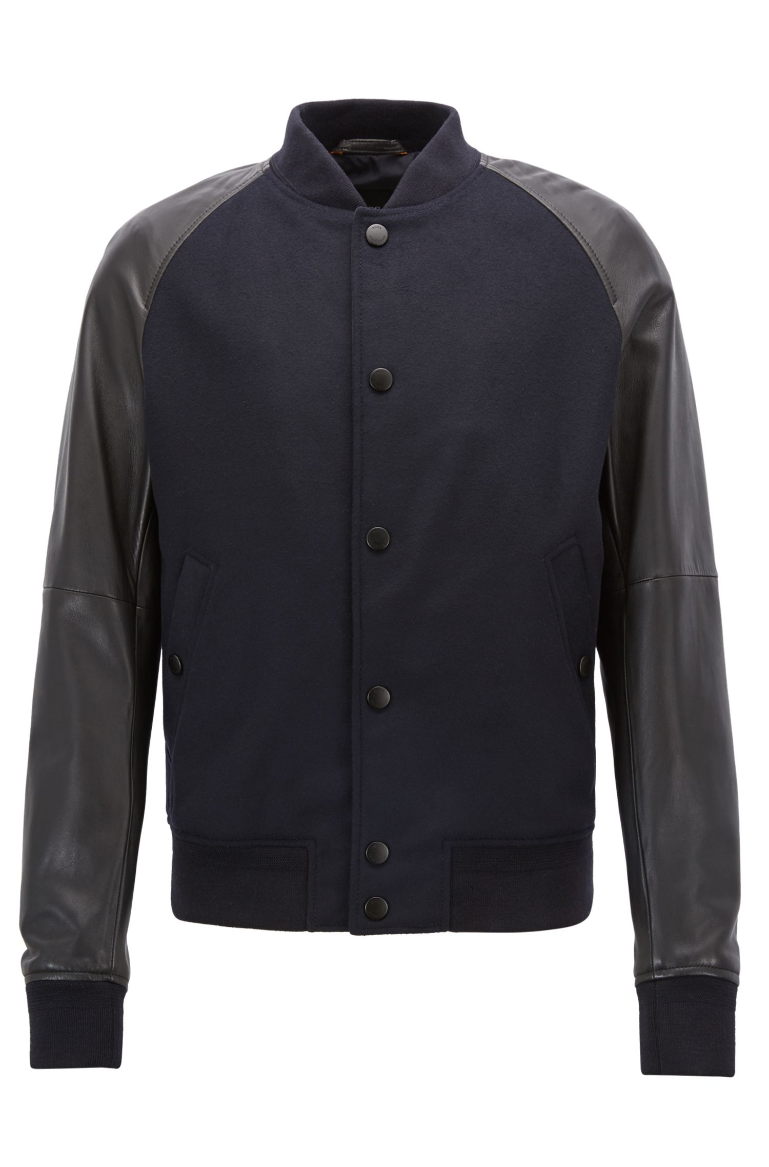 Nappa-leather bomber jacket with wool-blend panels, Blue