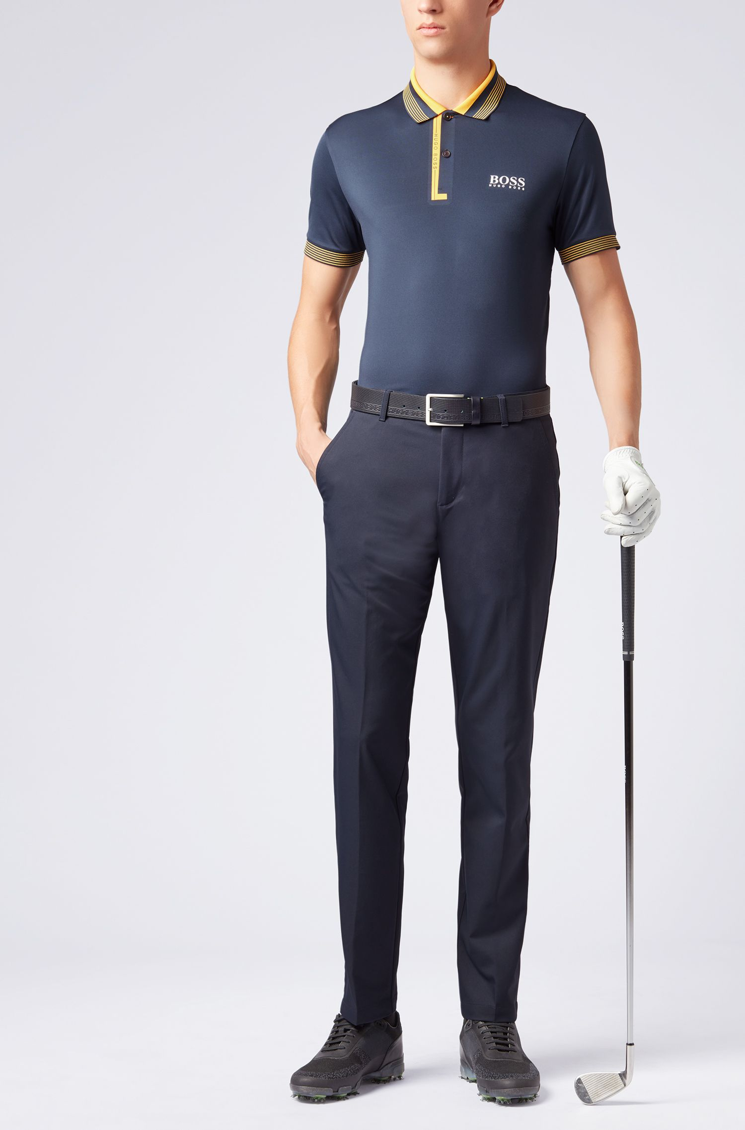 Polo regular fit con tecnologia di gestione dell'umidità, Blu scuro