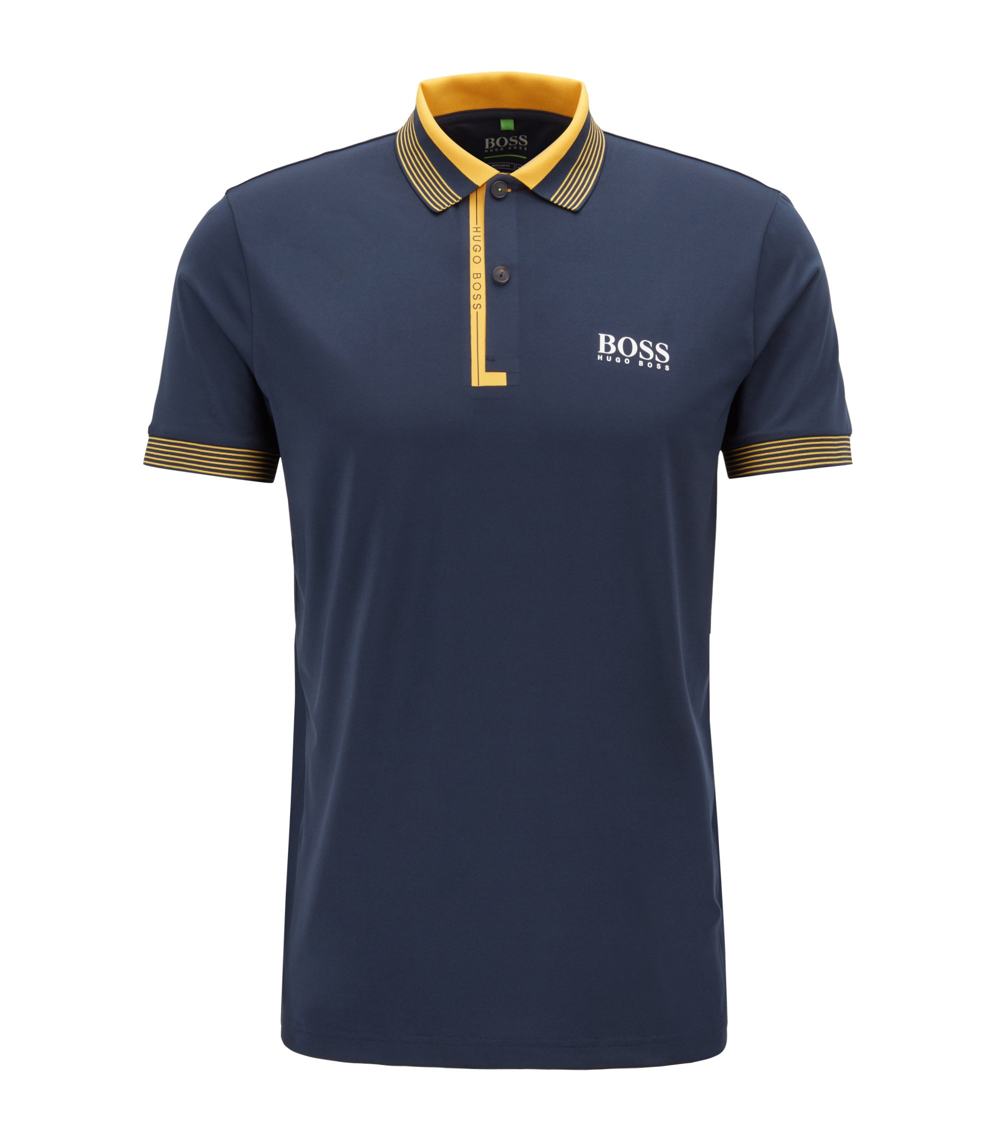 Regular-fit polo shirt with moisture management, Dark Blue