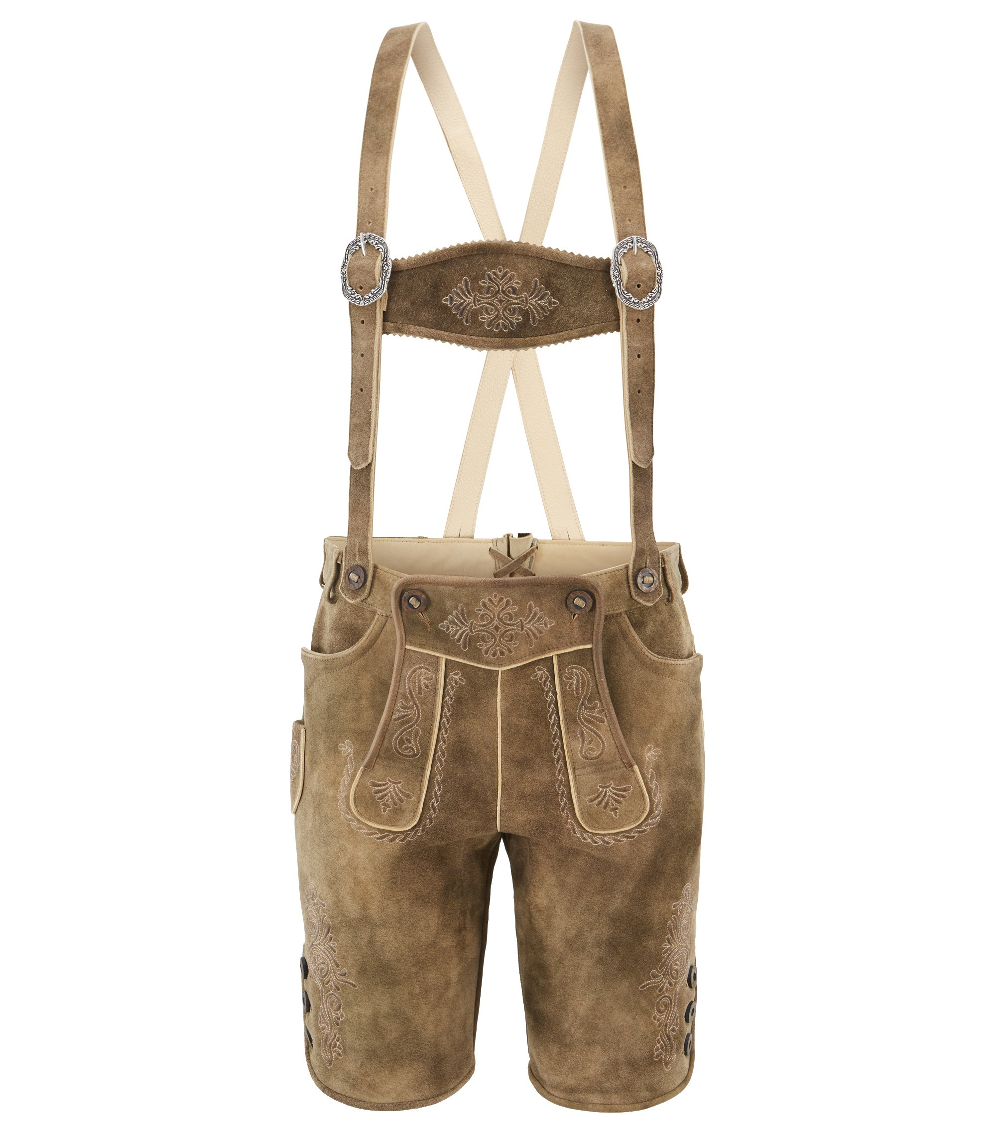 Traditional lederhosen in heavyweight suede, Khaki