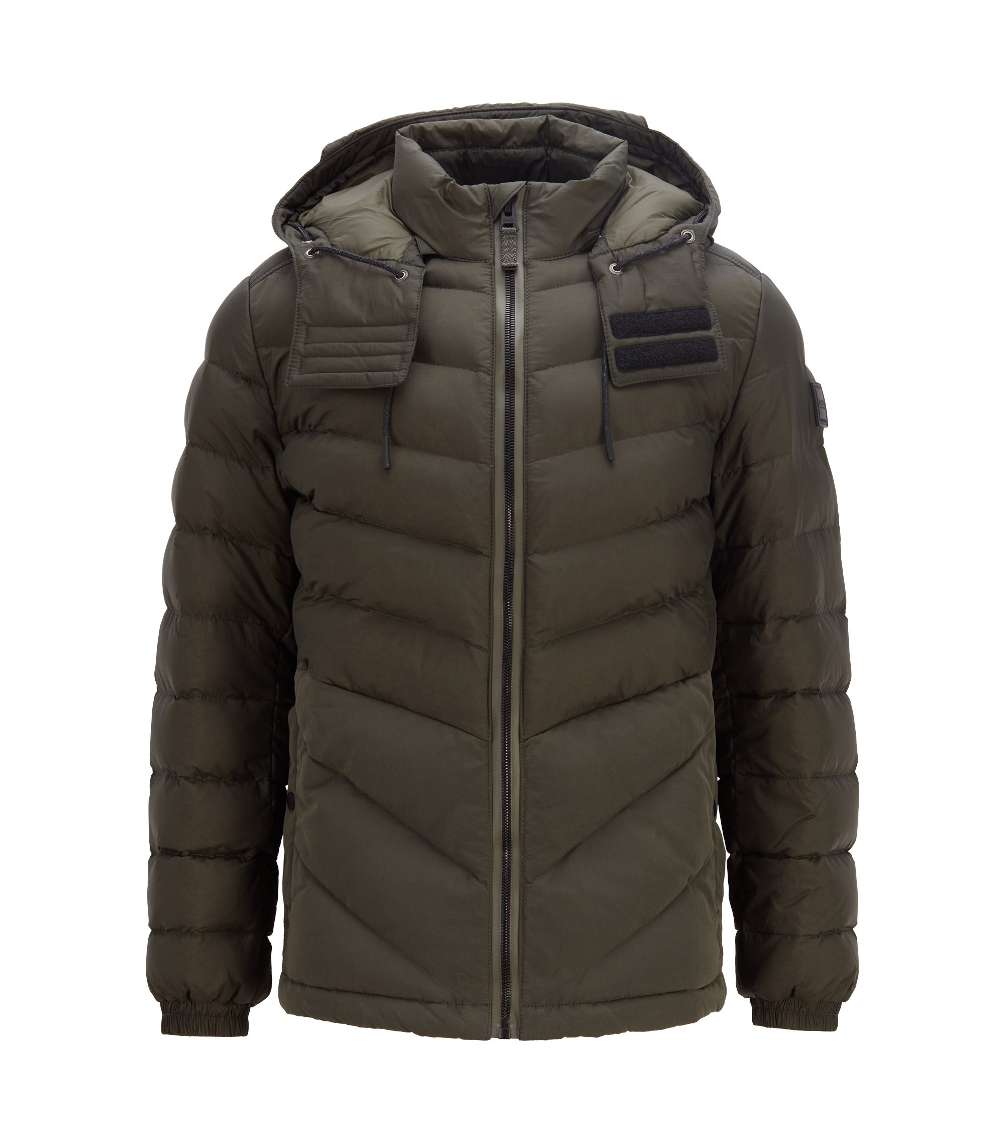 Padded jacket in water-repellent fabric with detachable hood, Dark Green