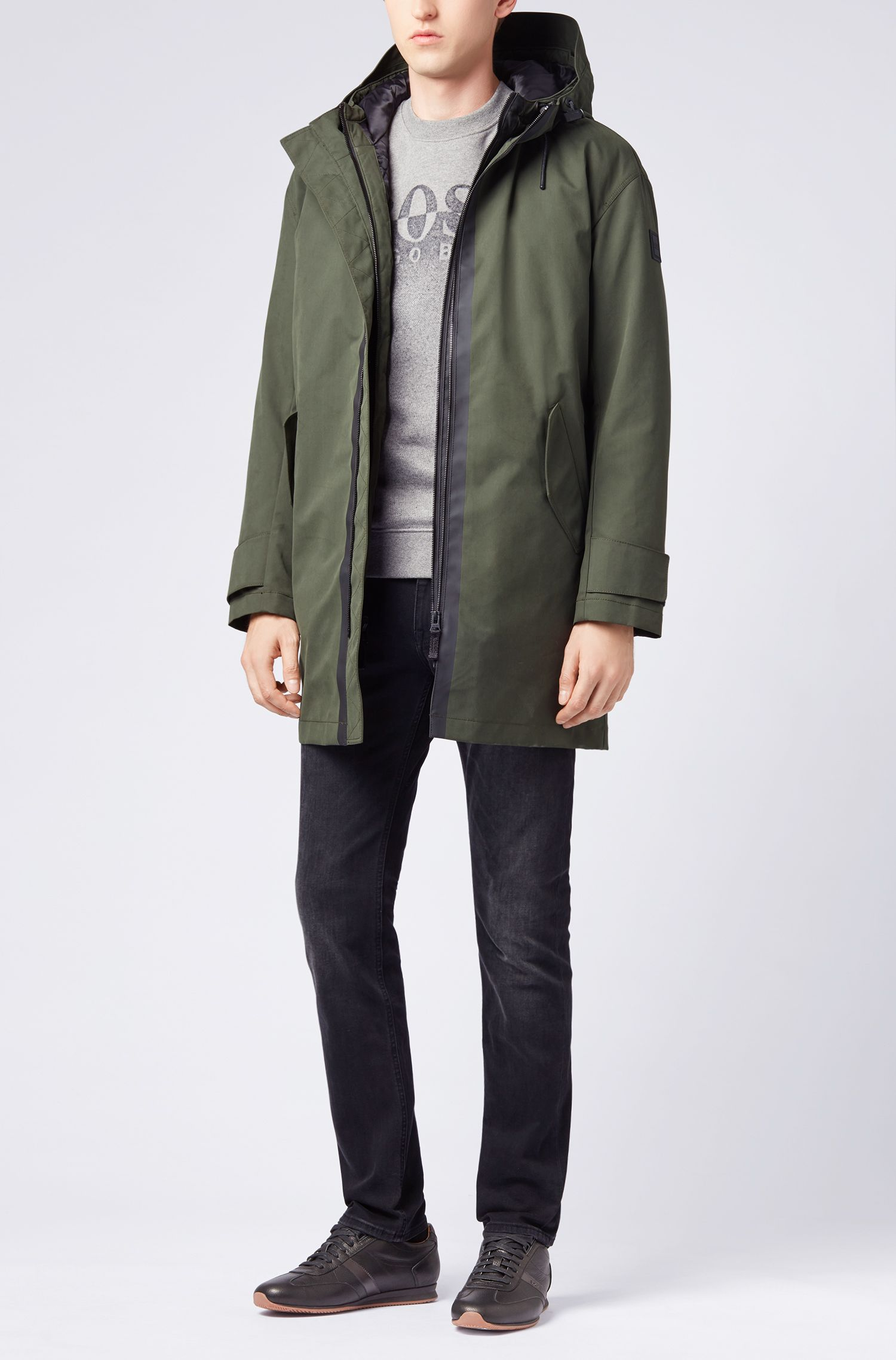 Four-in-one hooded parka in water-repellent fabric, Dark Green