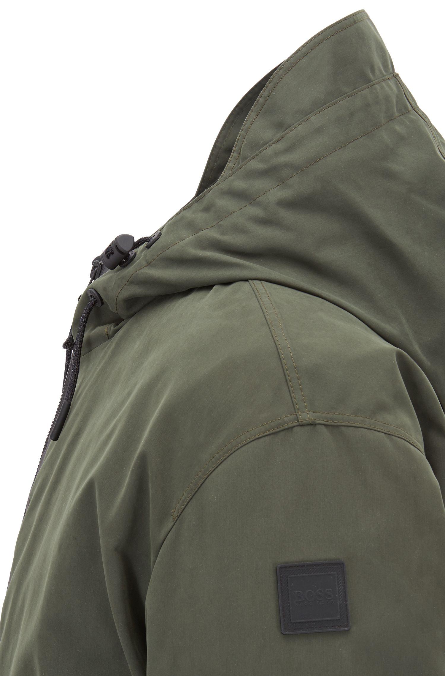 Parka à capuche 4en1, en tissu imperméable, Vert sombre