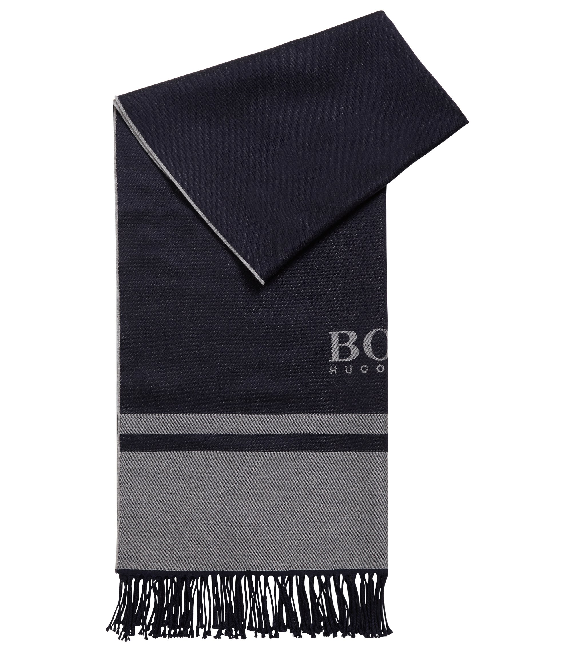 Tailored Italian-made scarf in virgin wool with logo, Dark Blue
