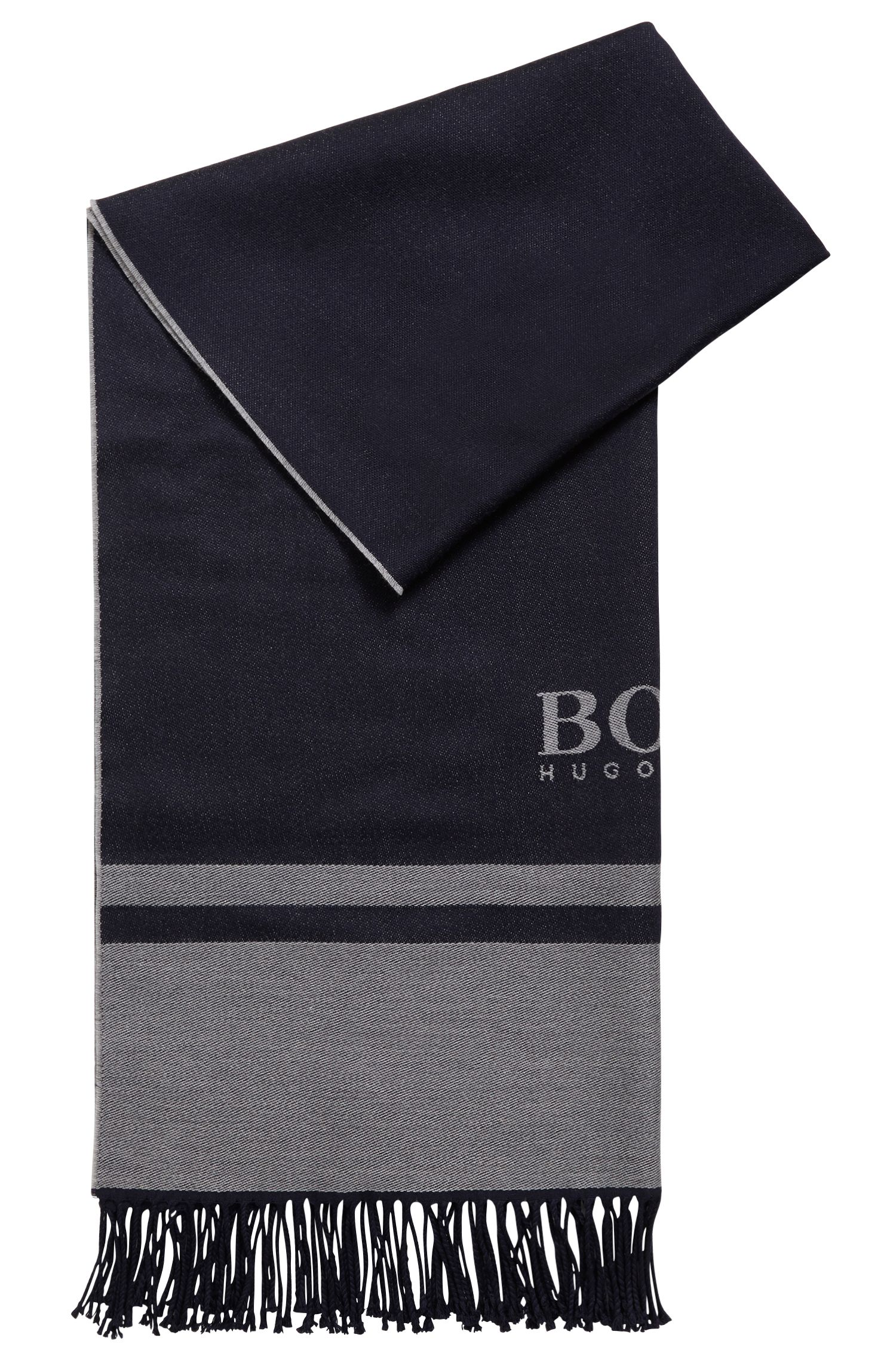 Tailored Italian-made scarf in virgin wool with logo, Dark Blue