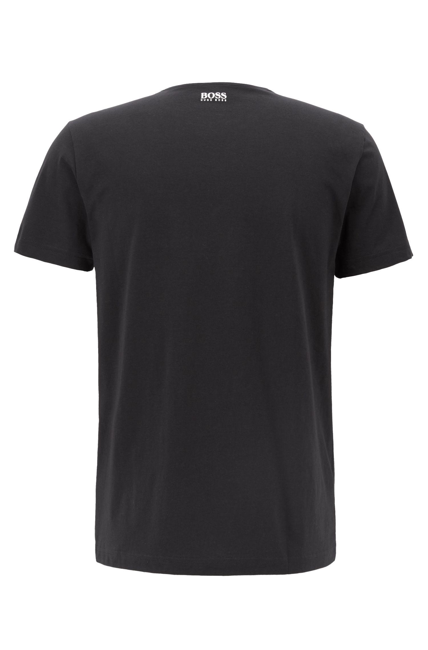 T-shirt à col ras-du-cou en coton, avec imprimé graphique multicolore, Noir
