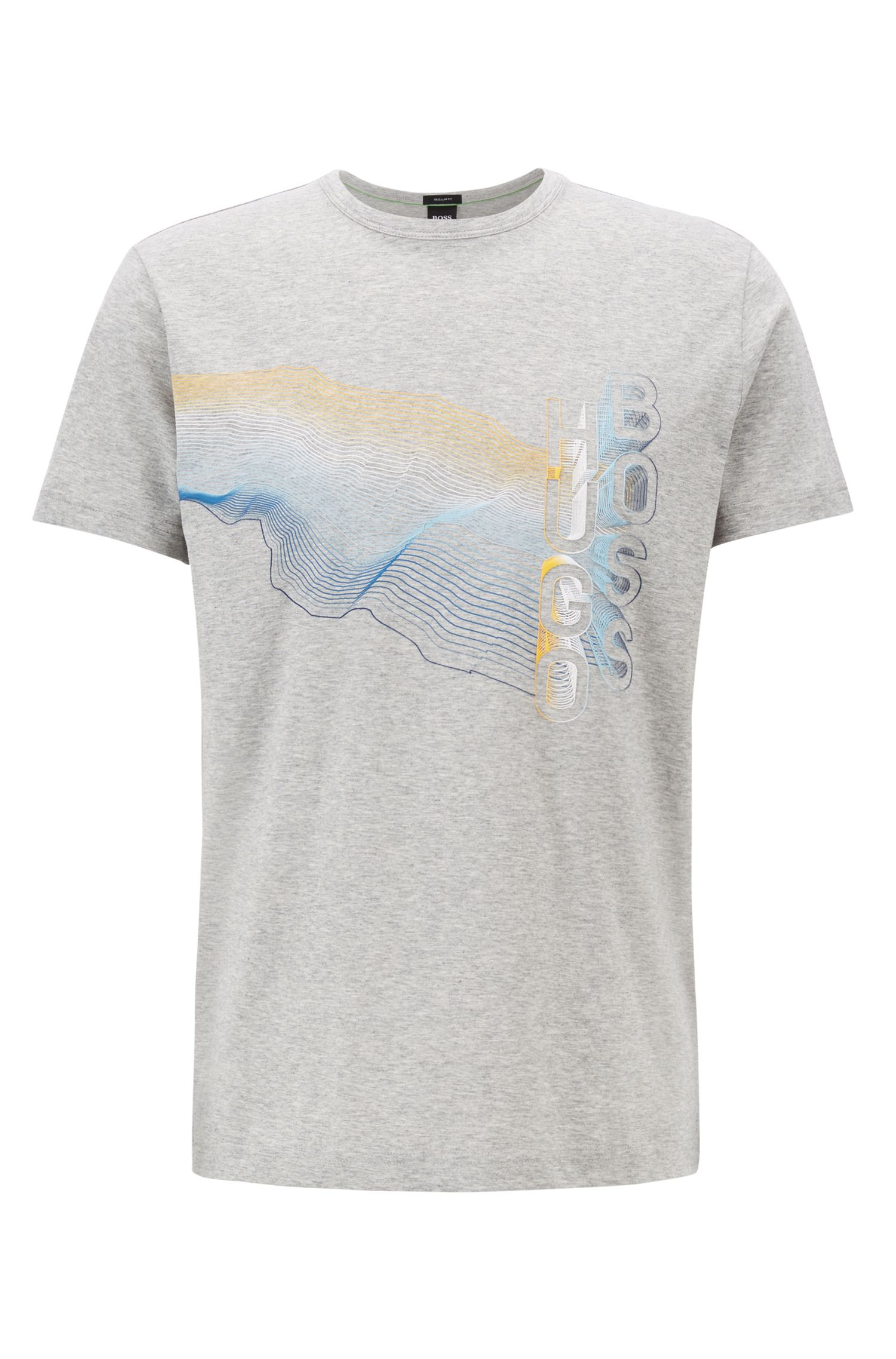 Crew-neck T-shirt in cotton with multicoloured graphic print, Light Grey