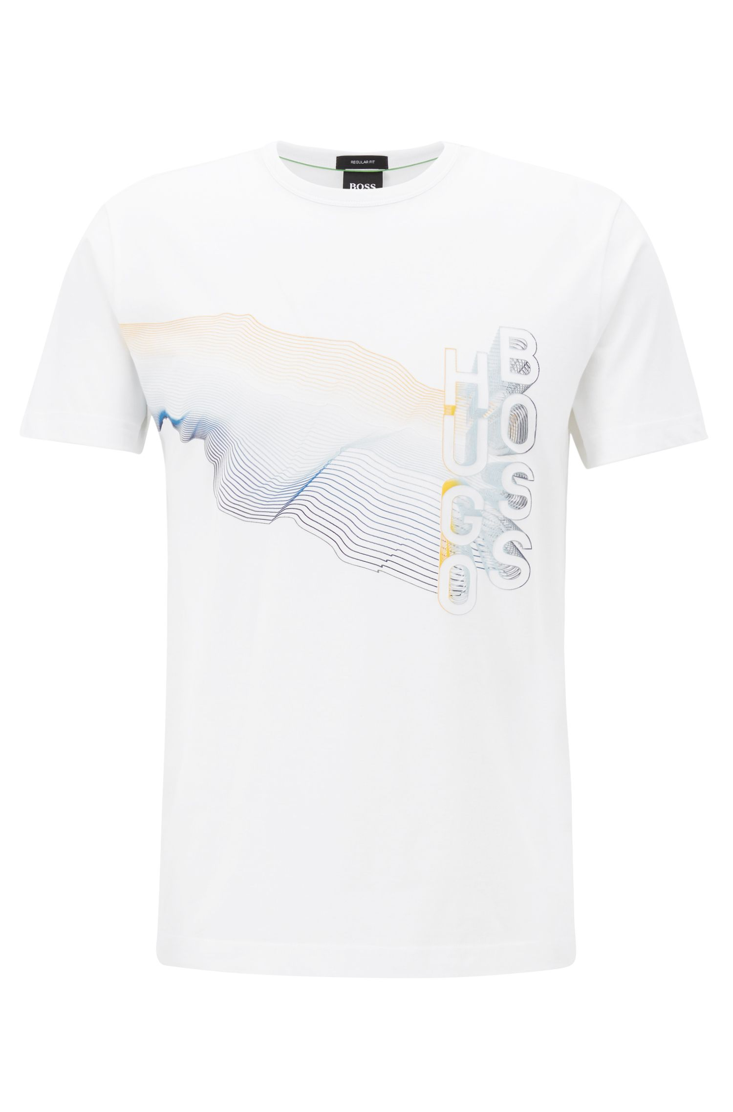 Crew-neck T-shirt in cotton with multicoloured graphic print, White