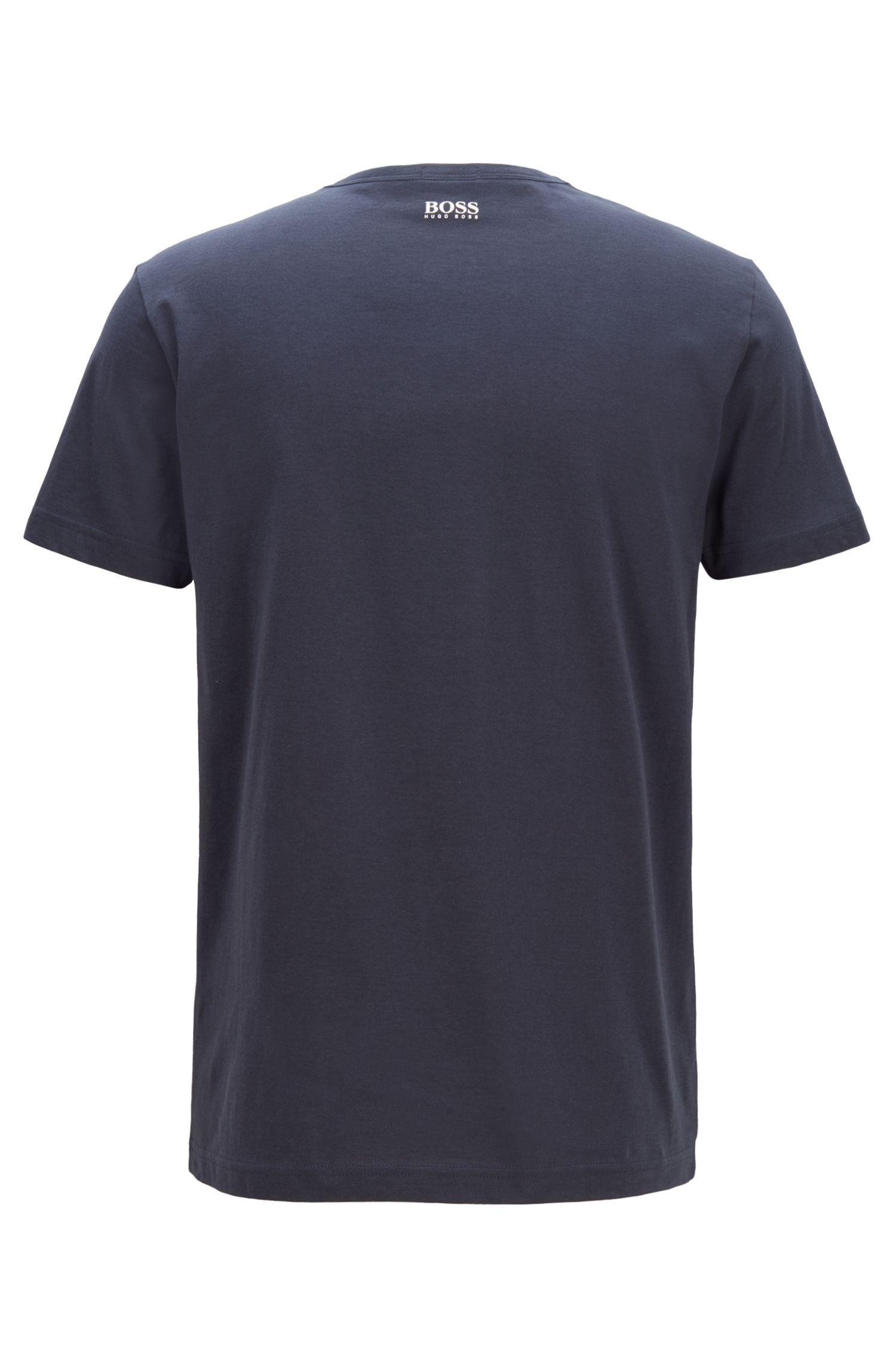 Crew-neck T-shirt in cotton with multicoloured graphic print, Dark Blue