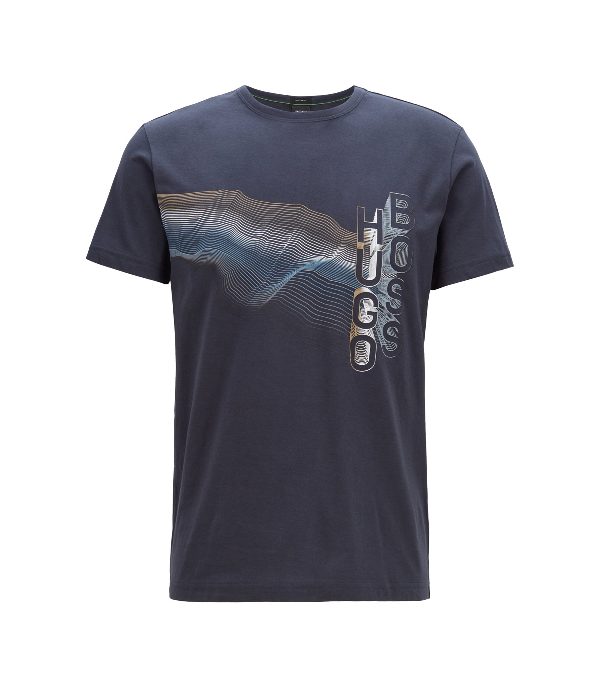Crew-neck T-shirt in cotton with multicoloured graphic print, Dark Blue