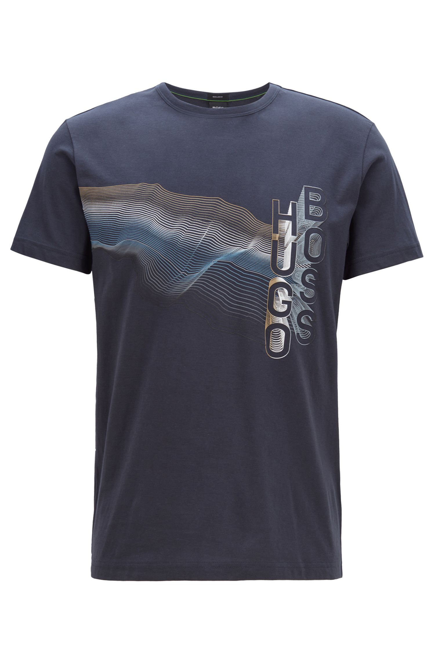 T-Shirt aus Baumwolle mit mehrfarbigem Grafik-Print, Dunkelblau