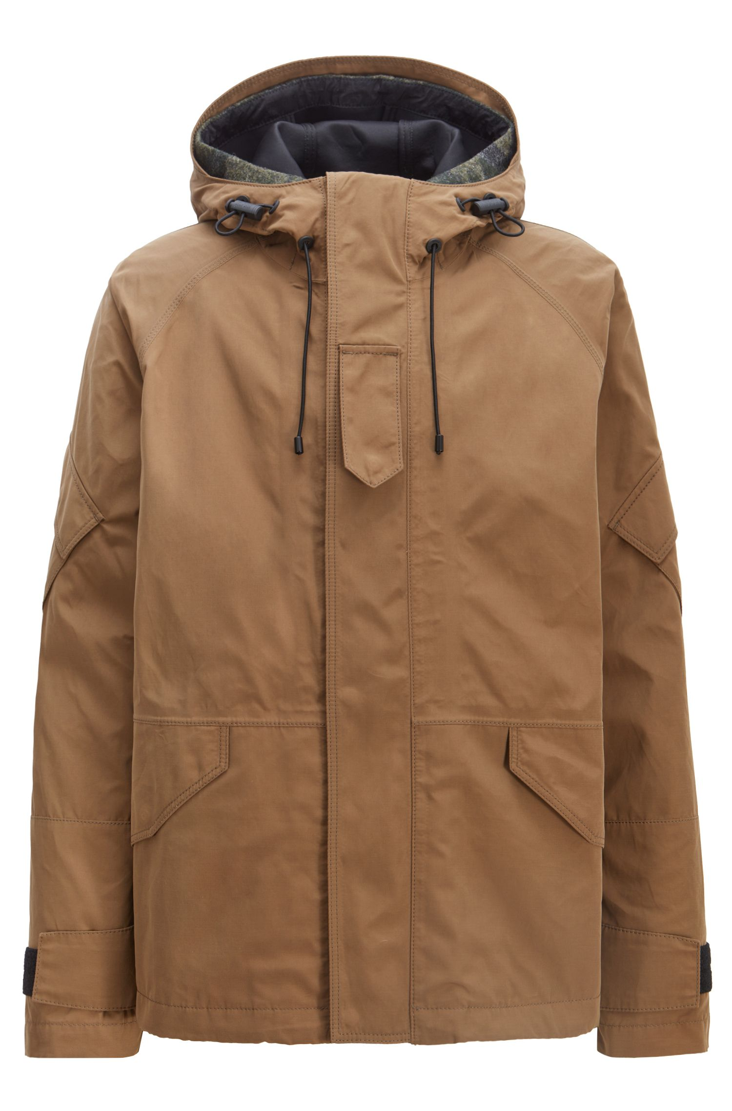 Three-in-one hooded parka in water-repellent waxed canvas, Brown