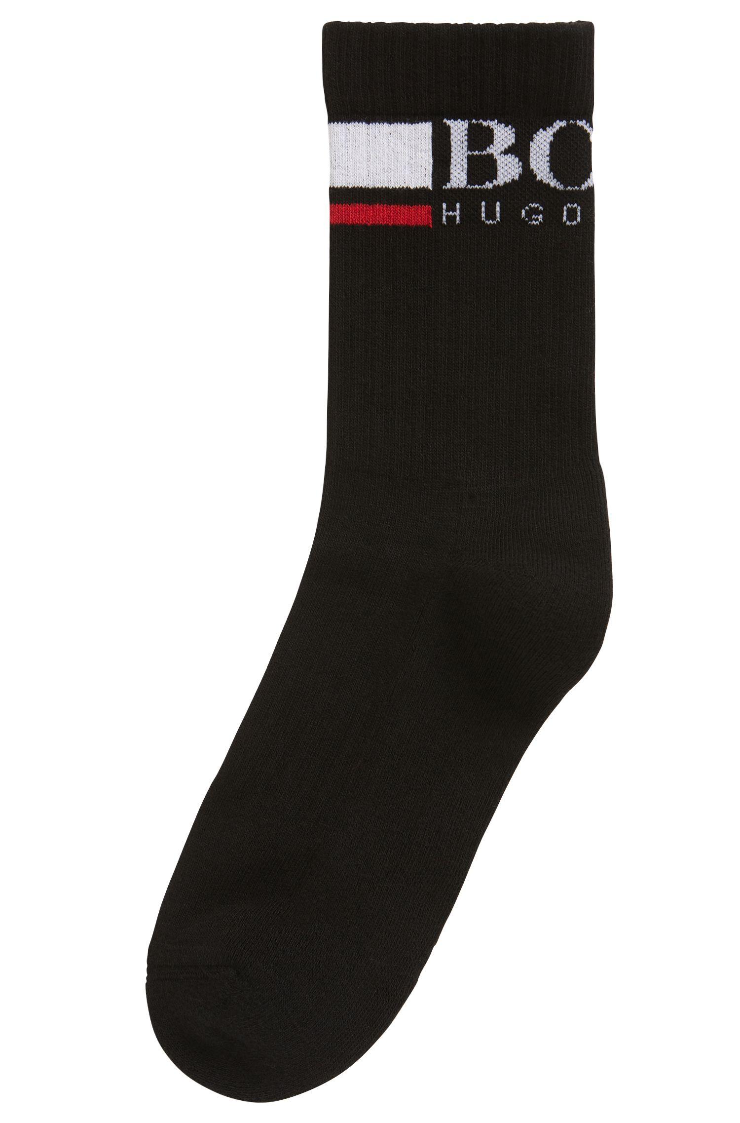 Mittelhohe Socken aus elastischem Baumwoll-Mix, Schwarz