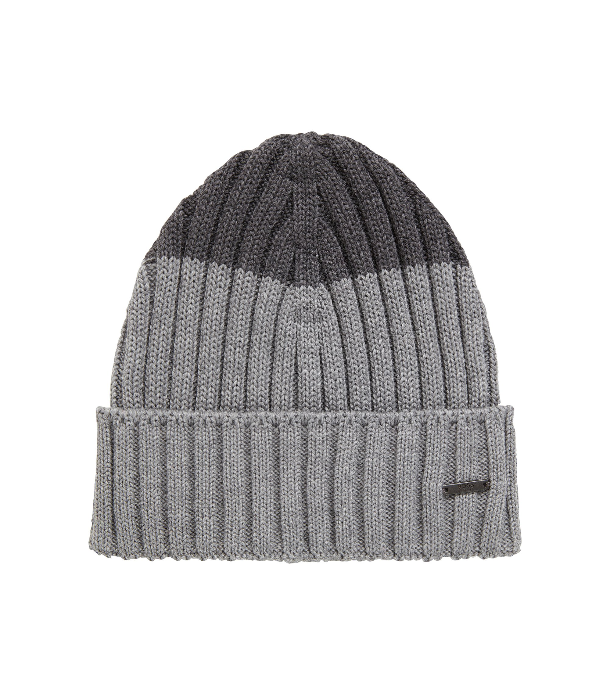 Colour-block beanie hat in virgin wool, Silver