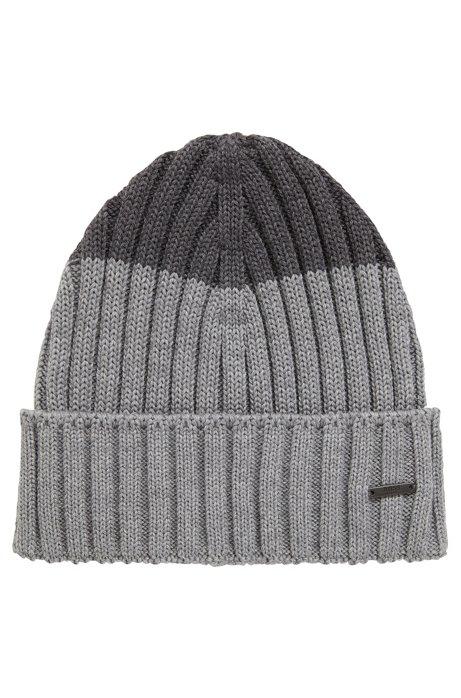 c951157745f BOSS - Colour-block beanie hat in virgin wool