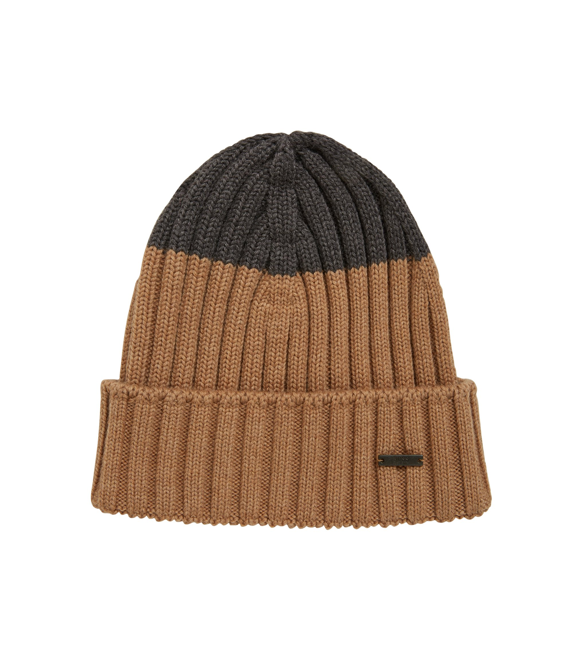 Colour-block beanie hat in virgin wool, Beige