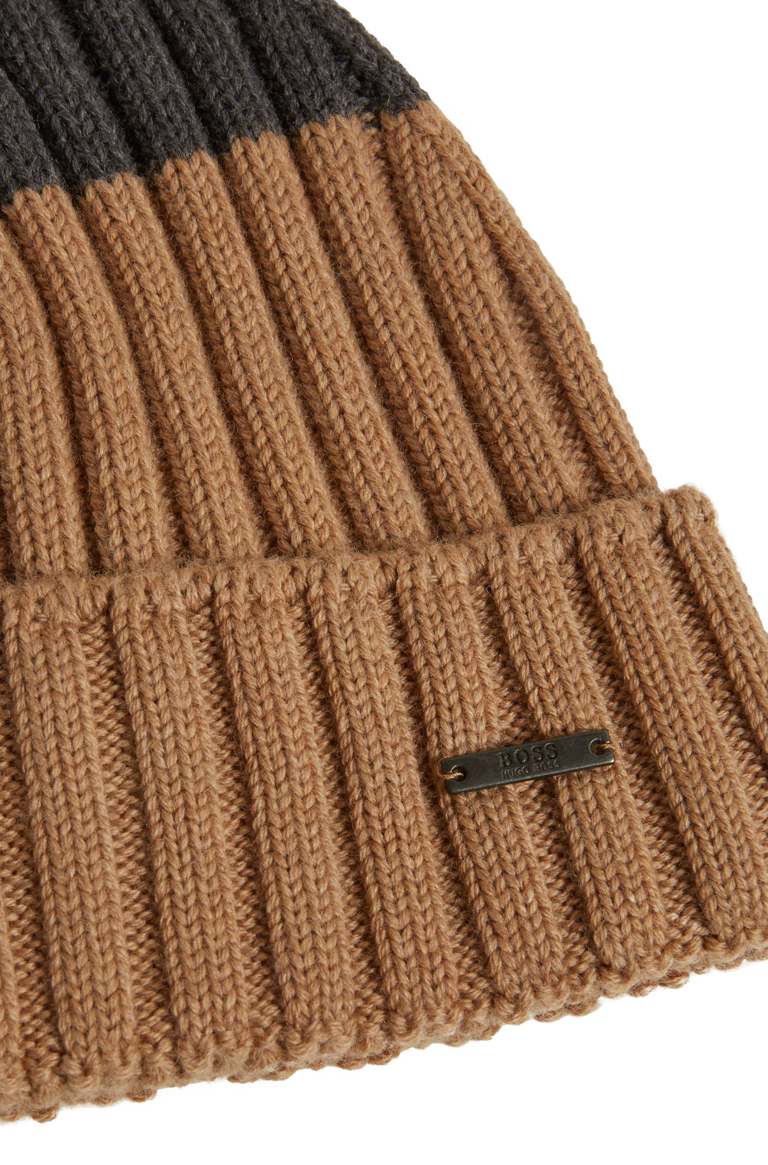 Mütze aus Schurwolle in Colour-Block-Optik, Beige