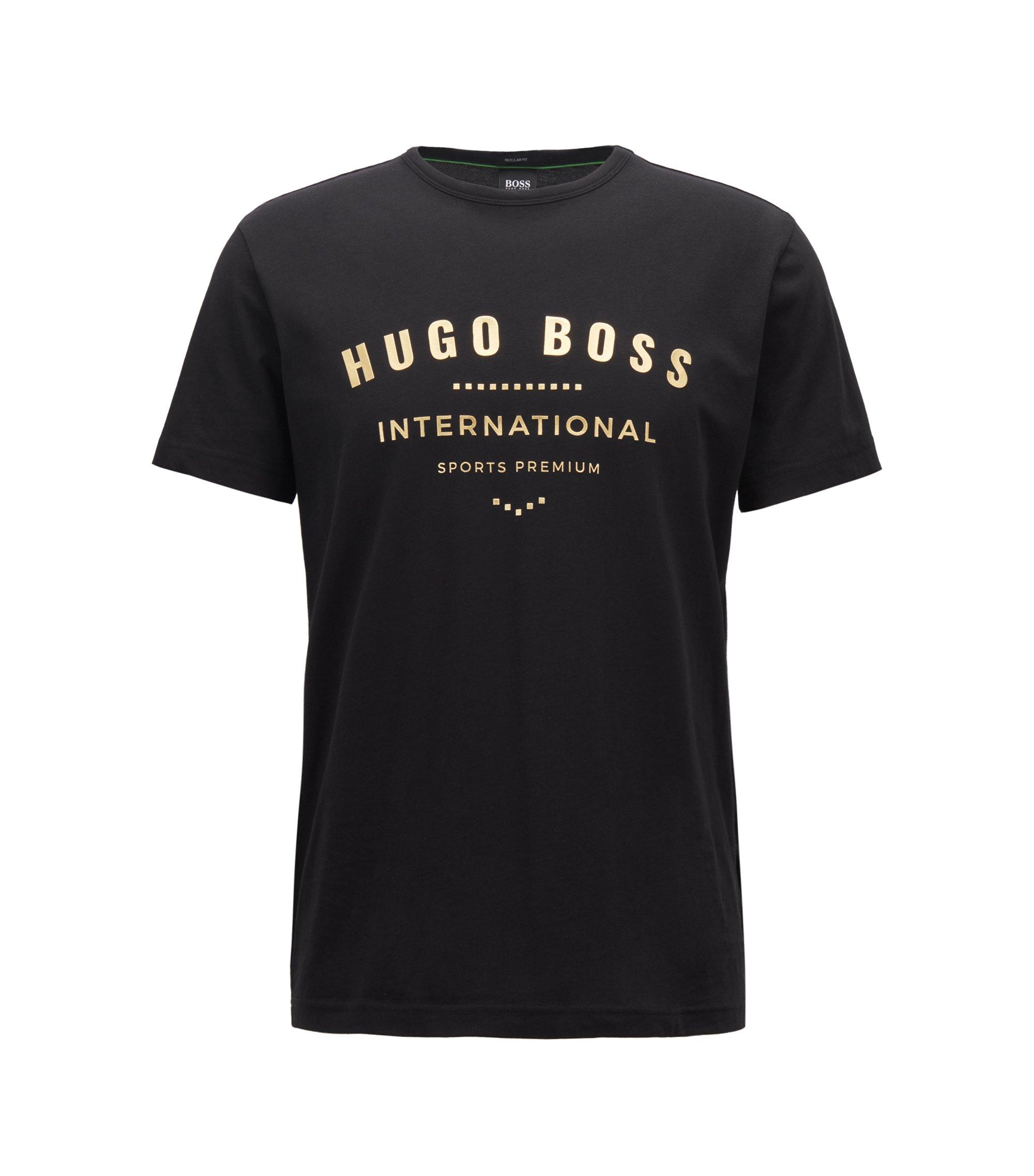 T-Shirt aus Baumwolle mit Rundhalsausschnitt und Metallic-Print, Schwarz
