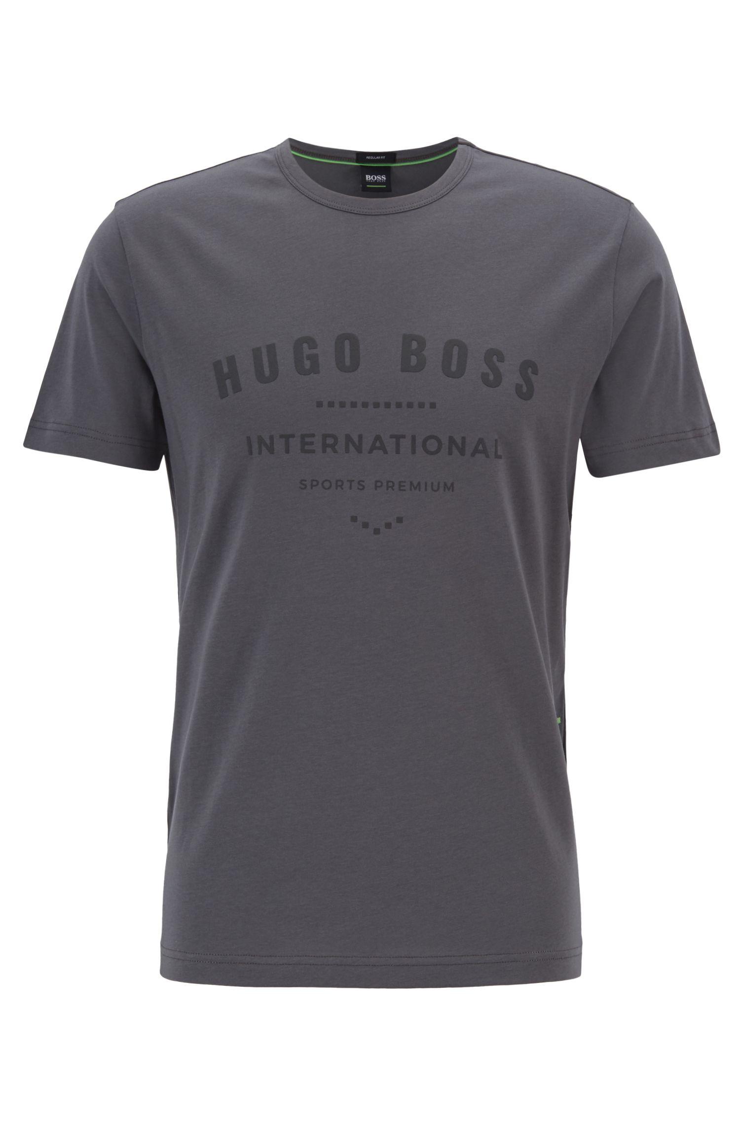 T-Shirt aus Baumwolle mit Rundhalsausschnitt und Metallic-Print, Anthrazit