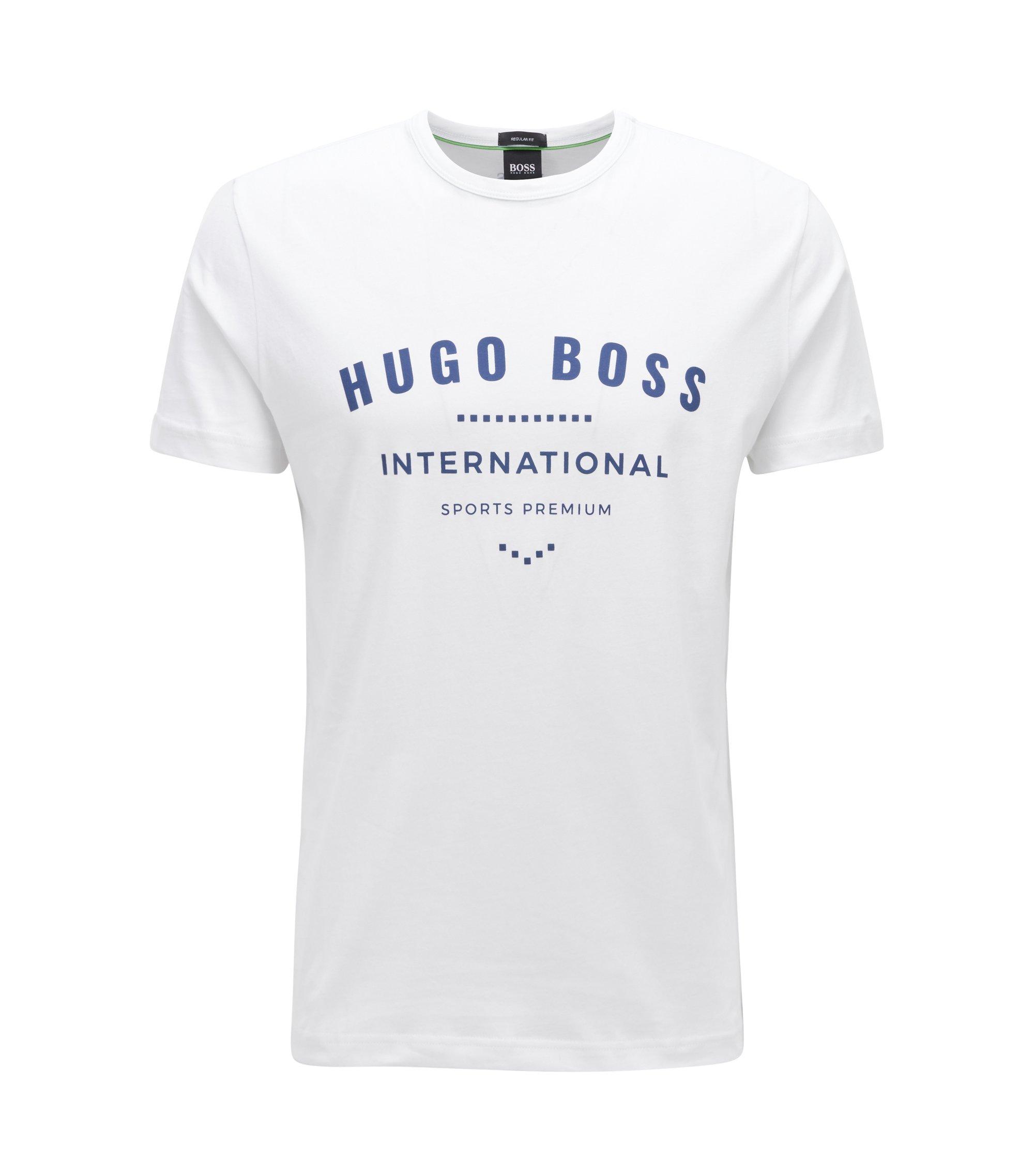 Camiseta de cuello redondo en algodón con diseño metálico, Blanco
