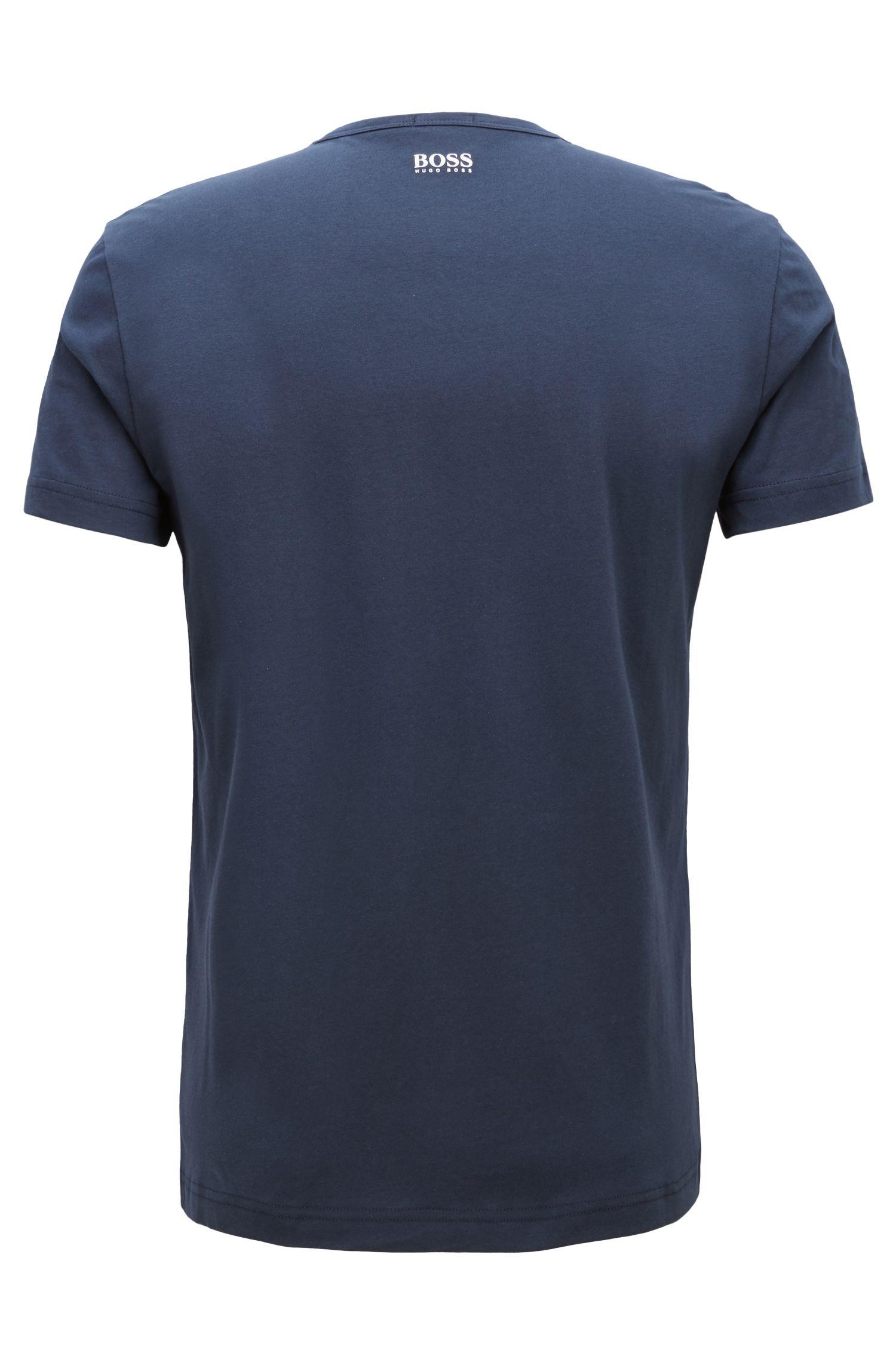 Camiseta de cuello redondo en algodón con diseño metálico, Azul oscuro