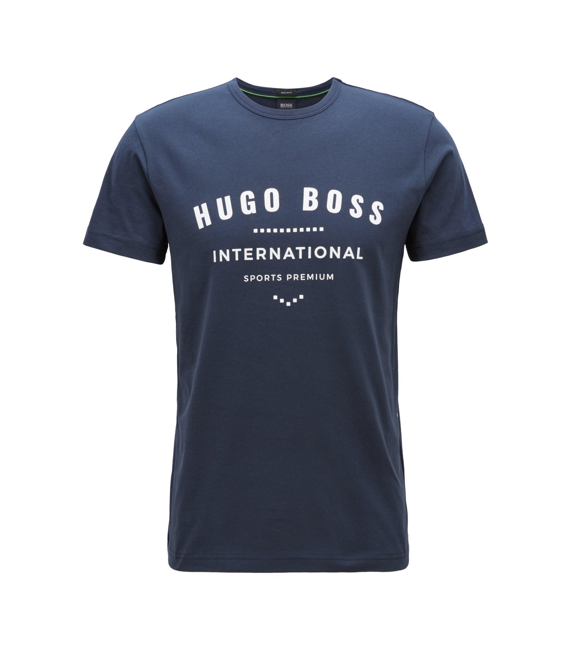 Crew-neck T-shirt in cotton with metallic artwork, Dark Blue