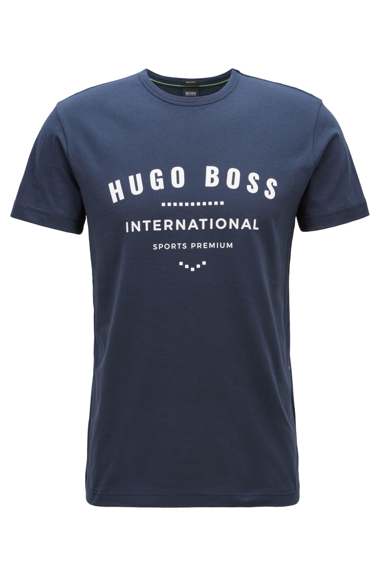 T-Shirt aus Baumwolle mit Rundhalsausschnitt und Metallic-Print, Dunkelblau