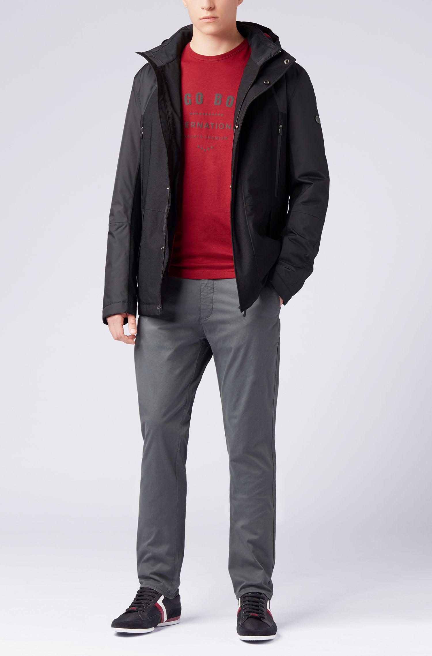 Camiseta de cuello redondo en algodón con diseño metálico, Rojo oscuro