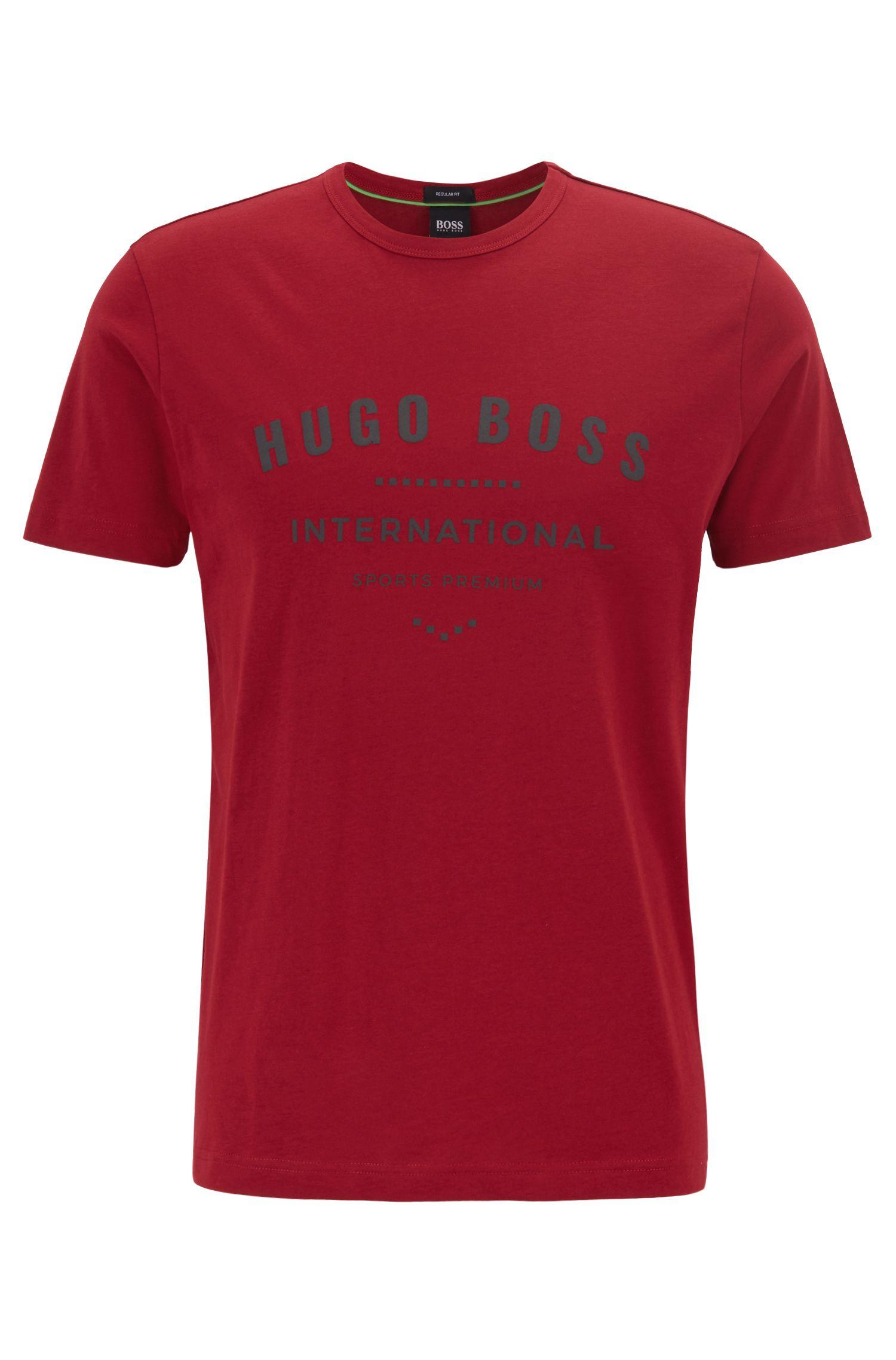 Crew-neck T-shirt in cotton with metallic artwork, Dark Red