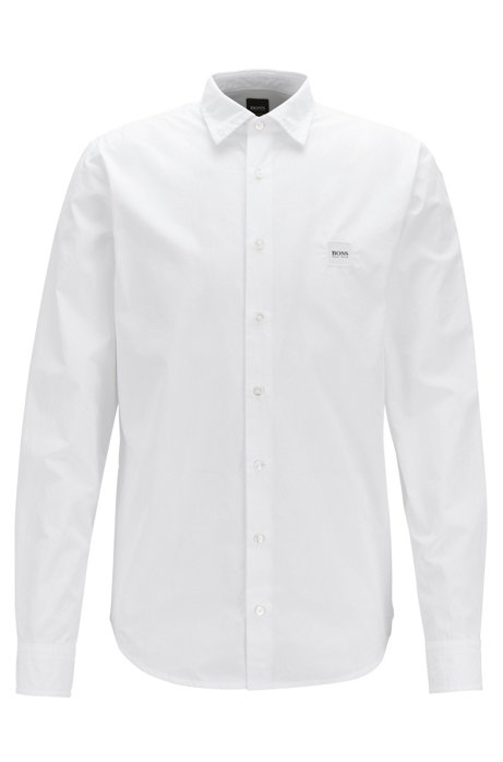 11057edfe BOSS - Slim-fit shirt in paper-touch pigment-dyed cotton