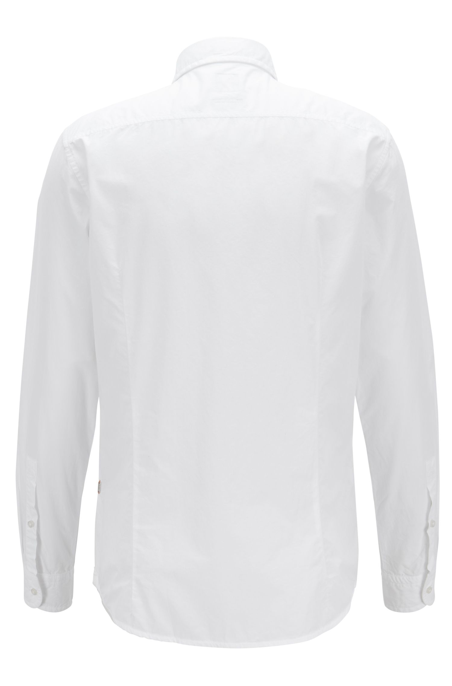 Slim-fit shirt in paper-touch pigment-dyed cotton, White