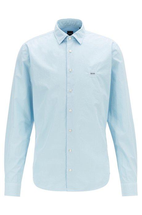Camisa slim fit en algodón teñido con pigmentos y tacto de papel, Celeste