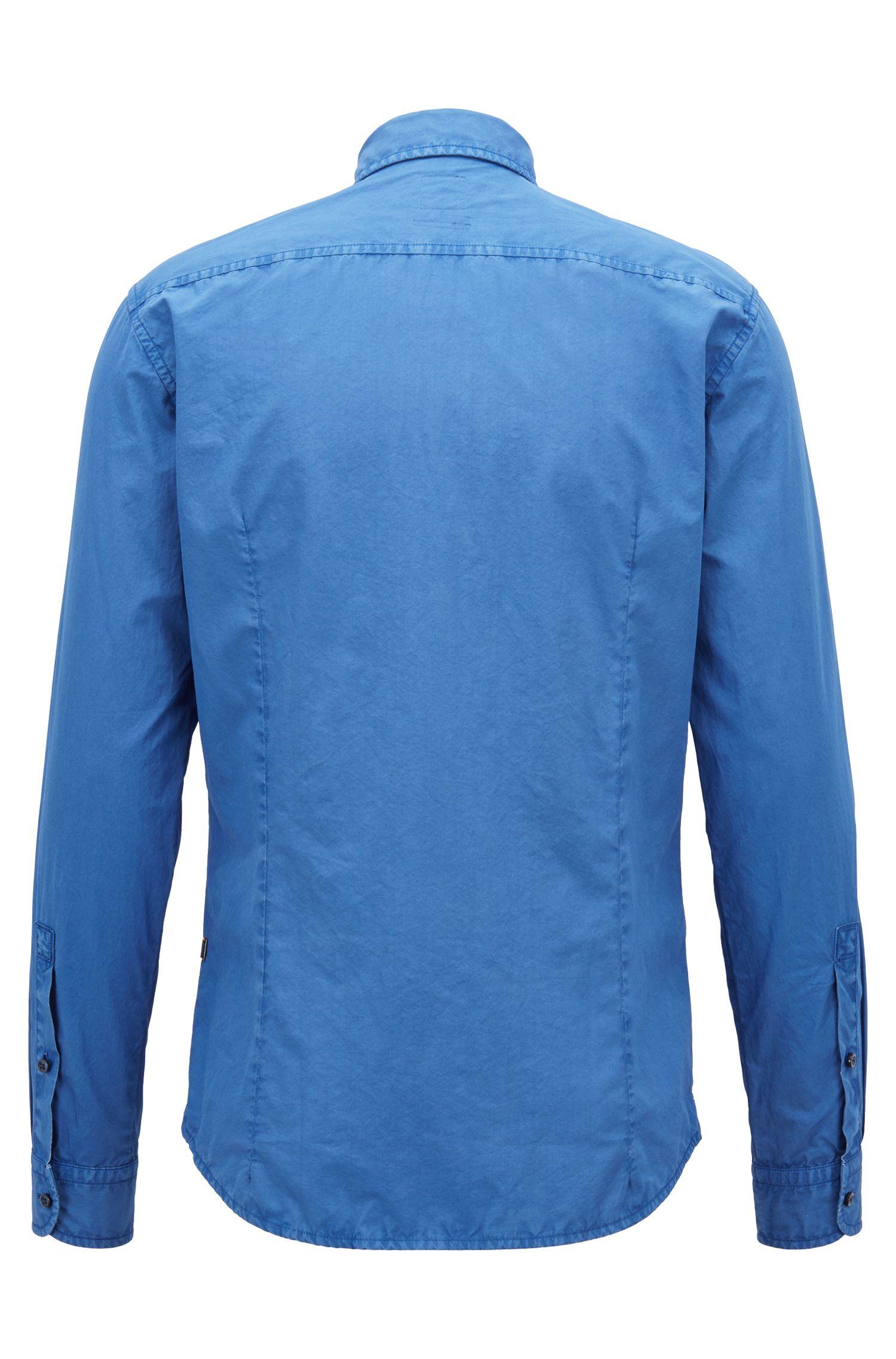 Slim-Fit Hemd aus pigmentgefärbter Baumwolle mit Paper-Touch-Effekt, Blau
