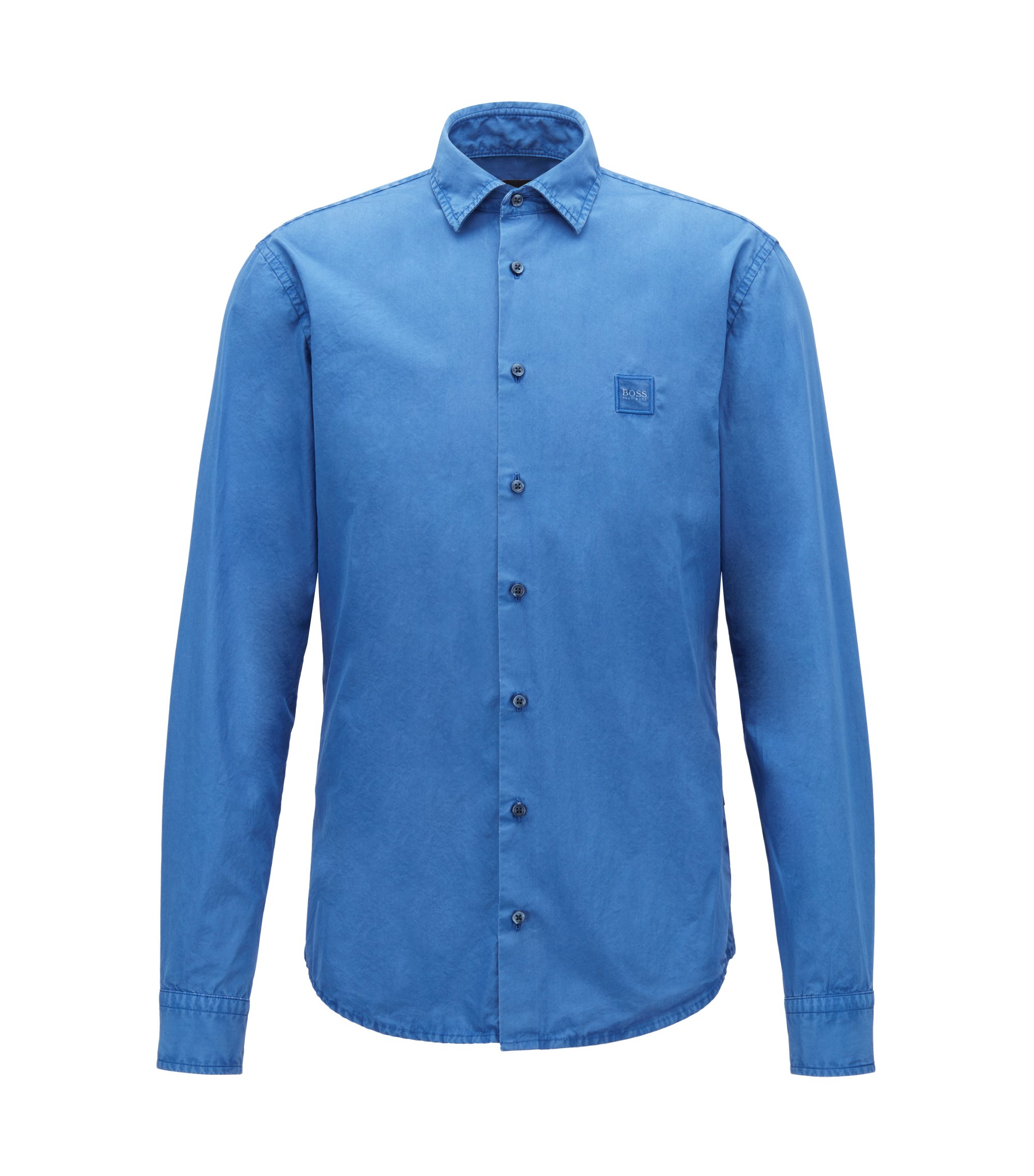 Slim-fit shirt in paper-touch pigment-dyed cotton, Blue